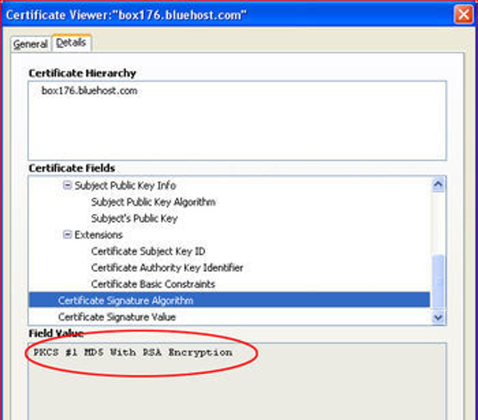 Alle vanlige nettlesere kan vise informasjon om digitale sertifikater. På bildet vises informasjon om et MD5-basert sertifikat i verktøyet i Firefox 3.