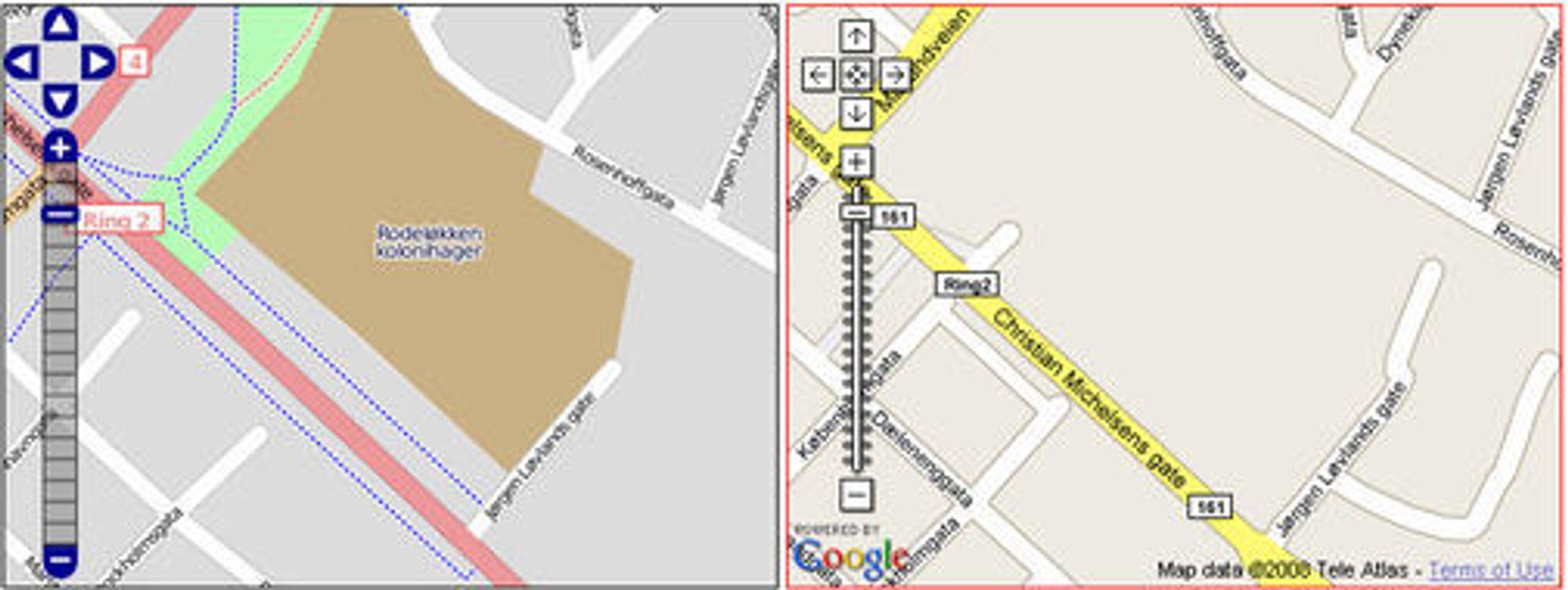 Sammenligning mellom OpenStreetMap og Google Maps fra Rodeløkka i Oslo.