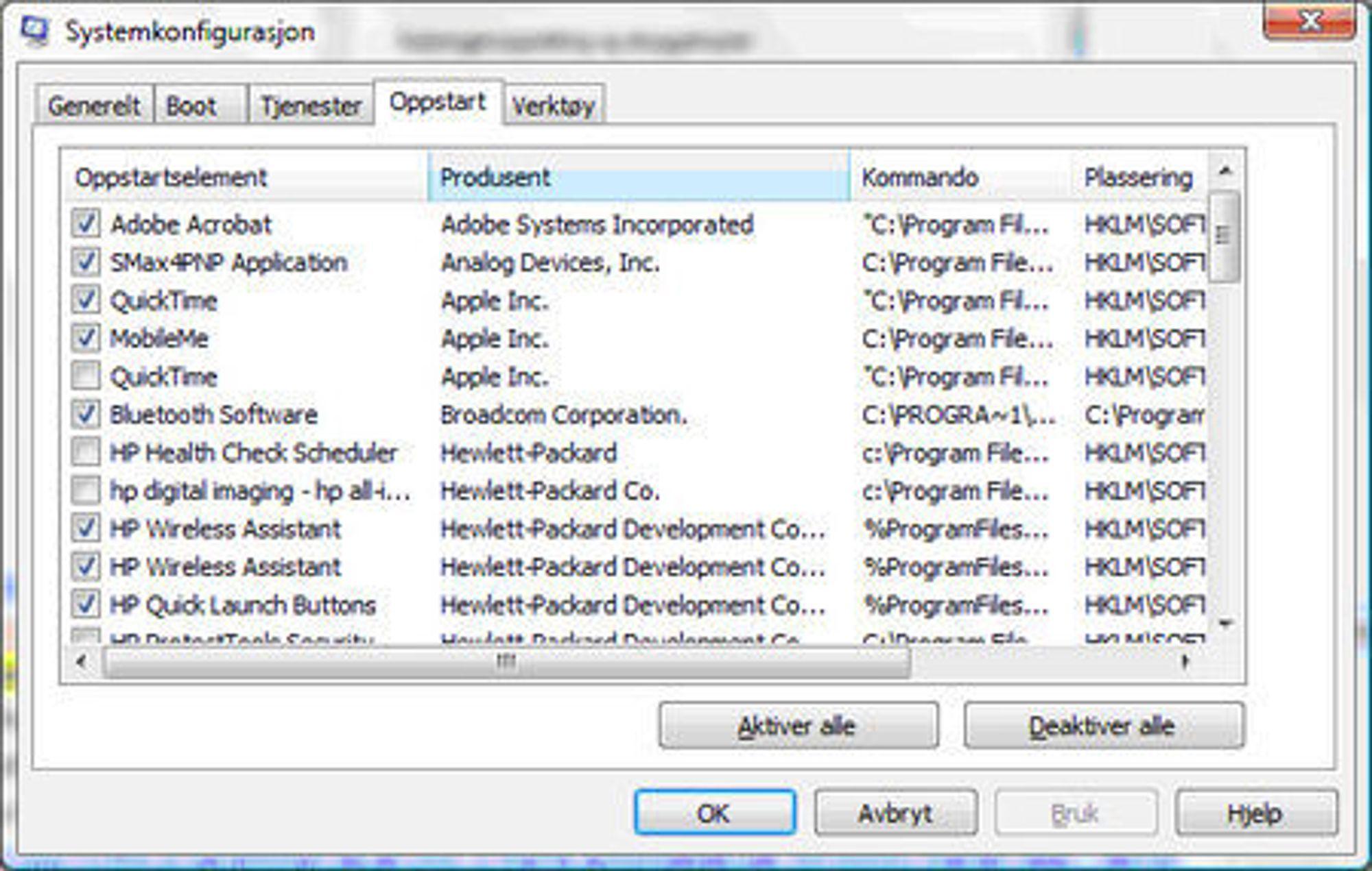 Mye som gjerne automatisk starter opp i Windows, kan med fordel startes ved behov i stedet. Fra Systemkonfigurasjon kan brukeren velge hva som automatisk skal starte opp.