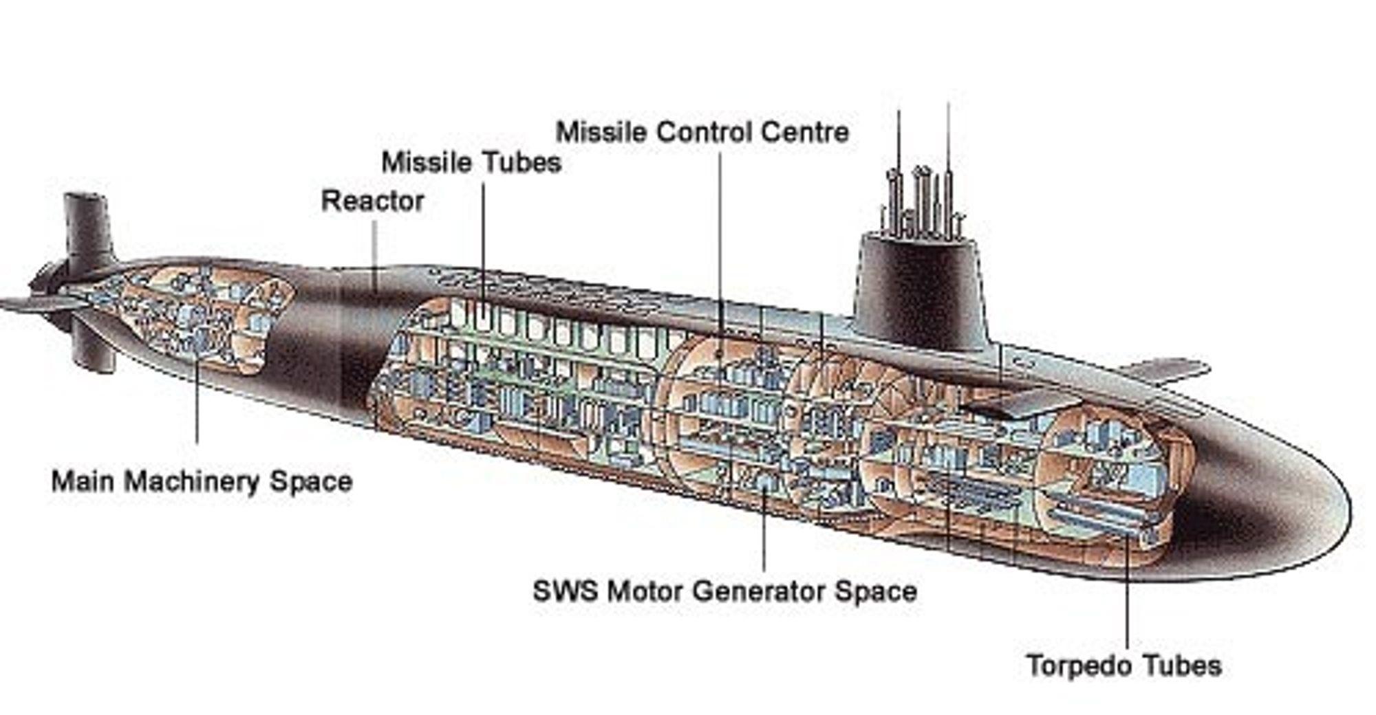 Skisse over ubåt i Vanguard-klassen. Bilde: Royal Navy