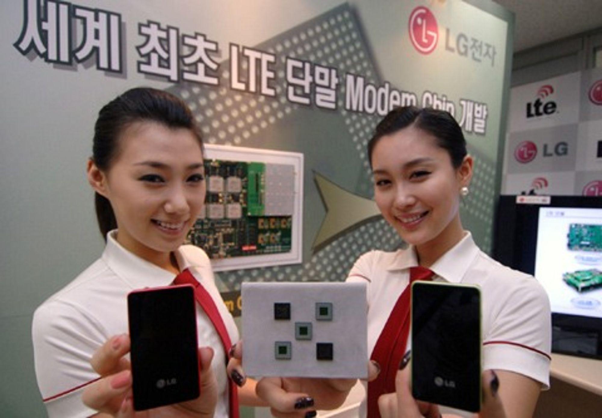 Representanter for LG Electronics med LTE-modembrikker og -mobiler.