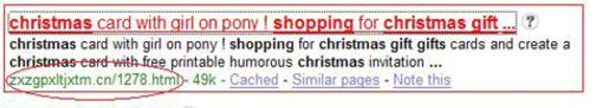 Kriminelle vet å utnytte søk etter julegaver, som her i et eksempel fra Google i fjor. Legg merke til det åpenbart tvilsomme nettadressen.
