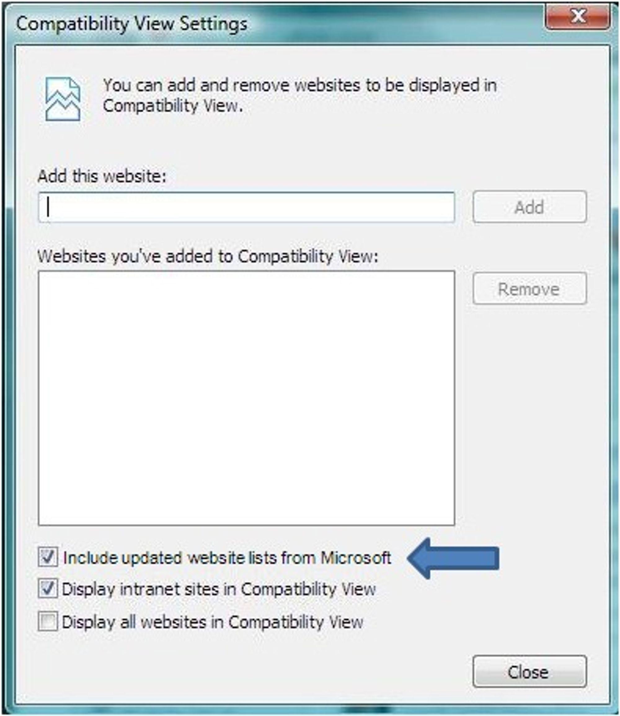 Brukerne vil blant annet kunne lage sin egen liste over nettsteder som skal vises i kompatibilitetsmodus og velge om Microsofts liste skal brukes (i tillegg).