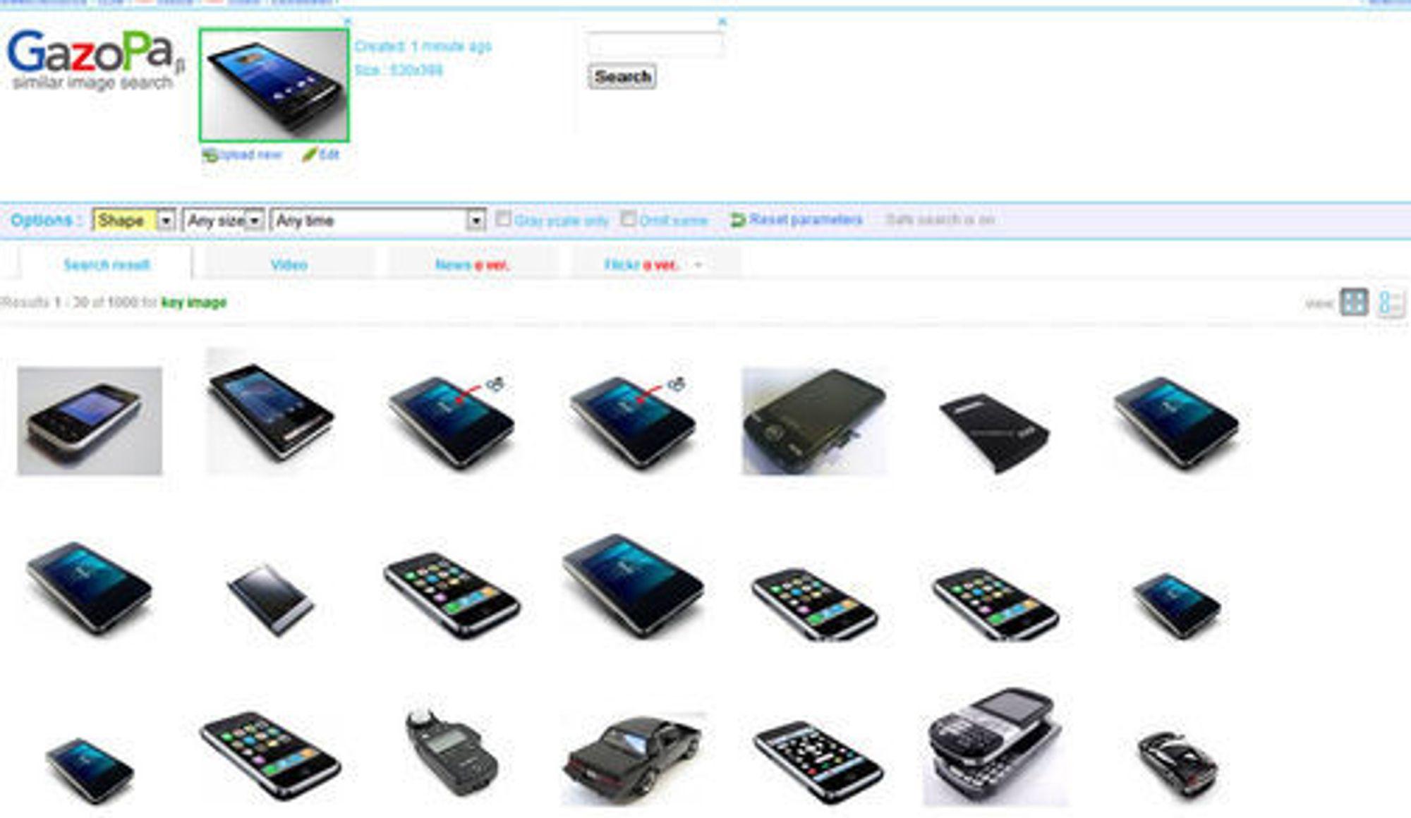 Søk i GazoPa etter bilder som ligner på mobiltelefonen øverst, ga en del underlige resultater.