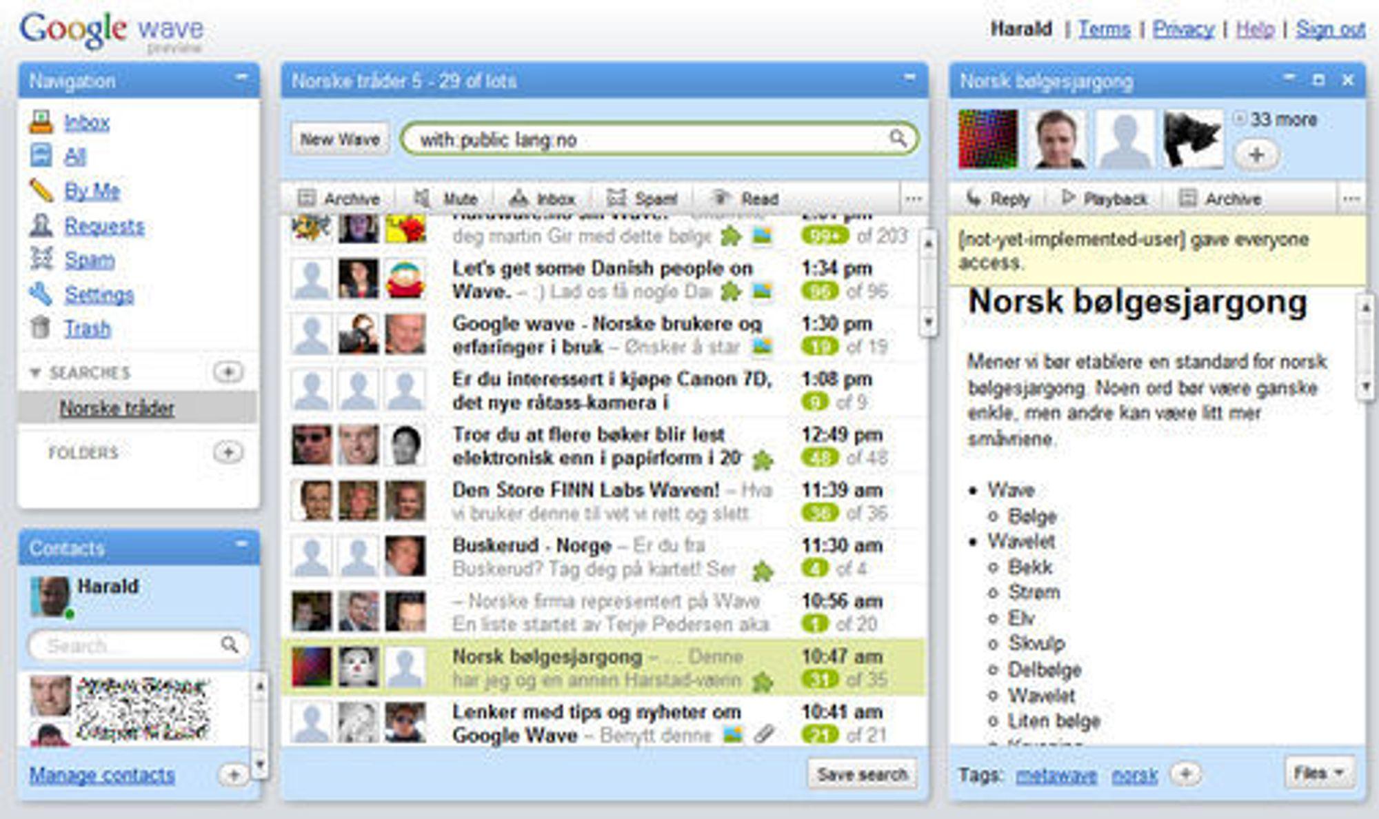 Det er allerede mye aktivitet blant de norske brukerne av Google Wave.