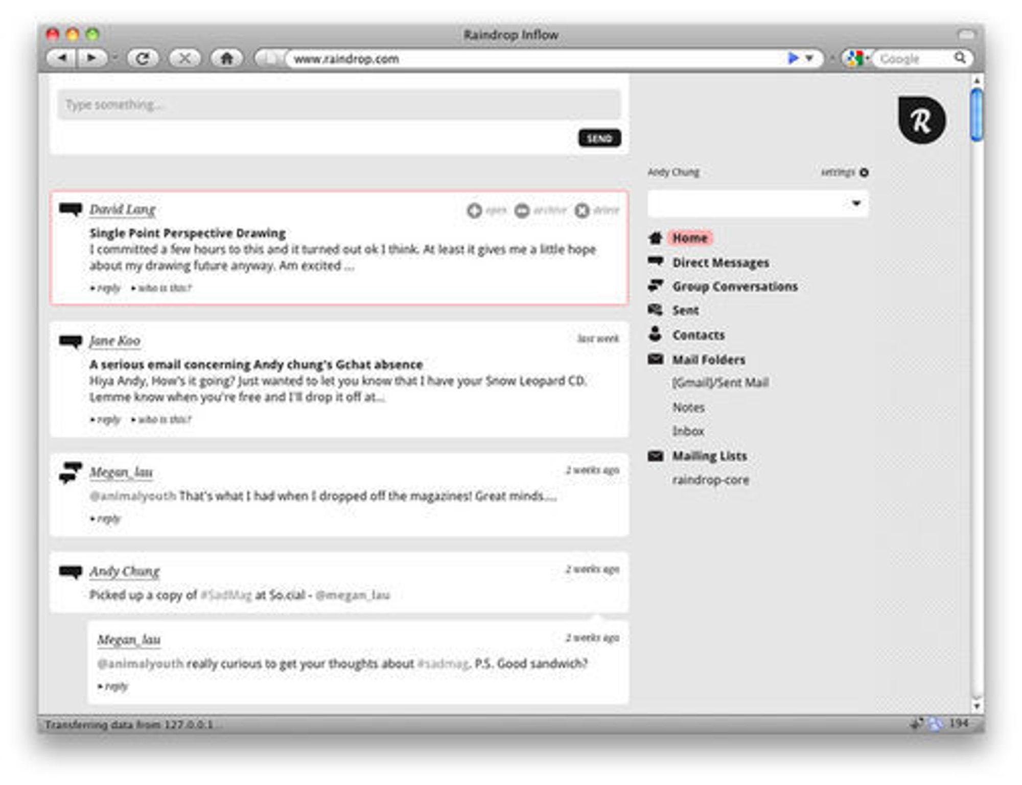 Et første utkast til brukergrensesnitt for Raindrop.
