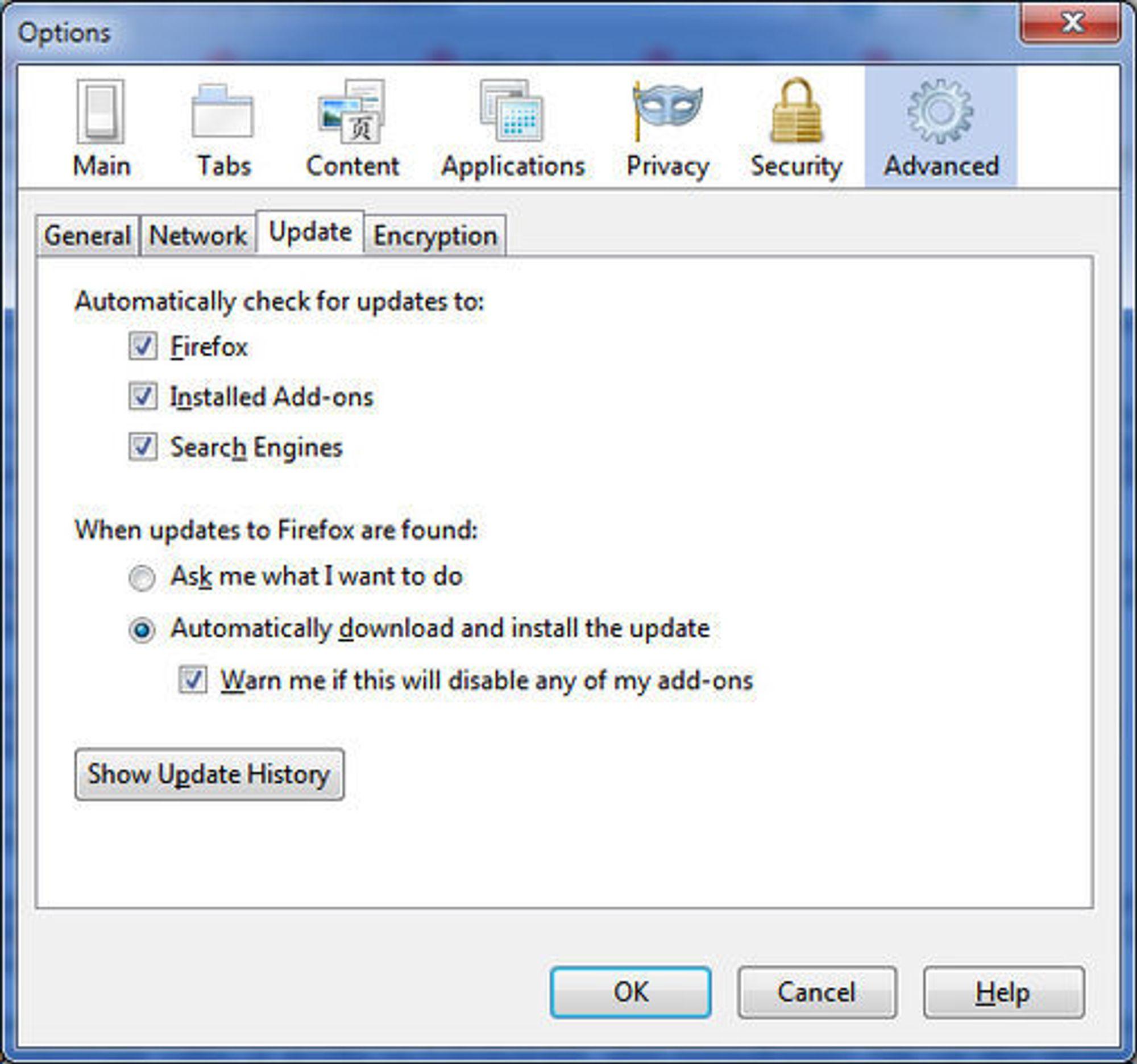 Kontroll over oppdateringssjekkingen i Firefox 3.5.x (engelsspråklig utgave)