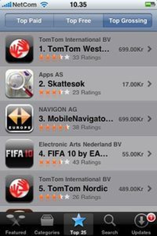 Dagbladet og Apps skattesøk topper listen over betalte programmer til iPhone. Den er også nest øverst på listen over høyest omsetning - i sterk konkurranse med langt dyrere GPS-navisjon.