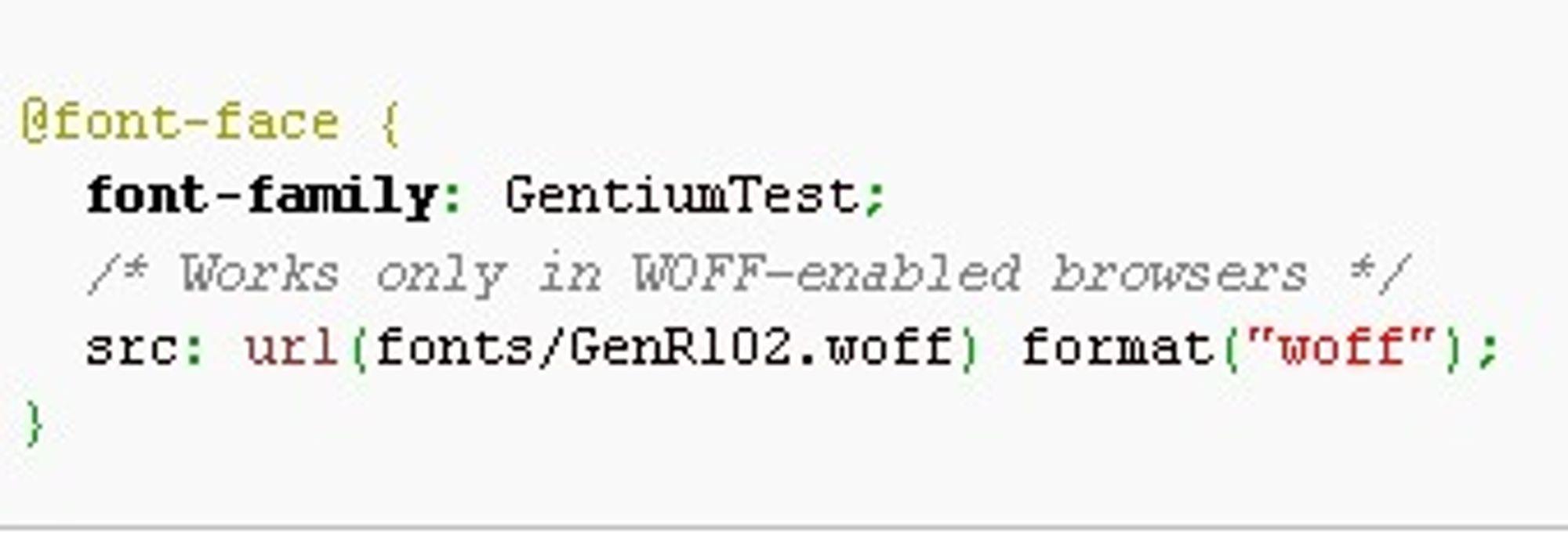 CSS-regel hvor det benyttes en WOFF-basert font.