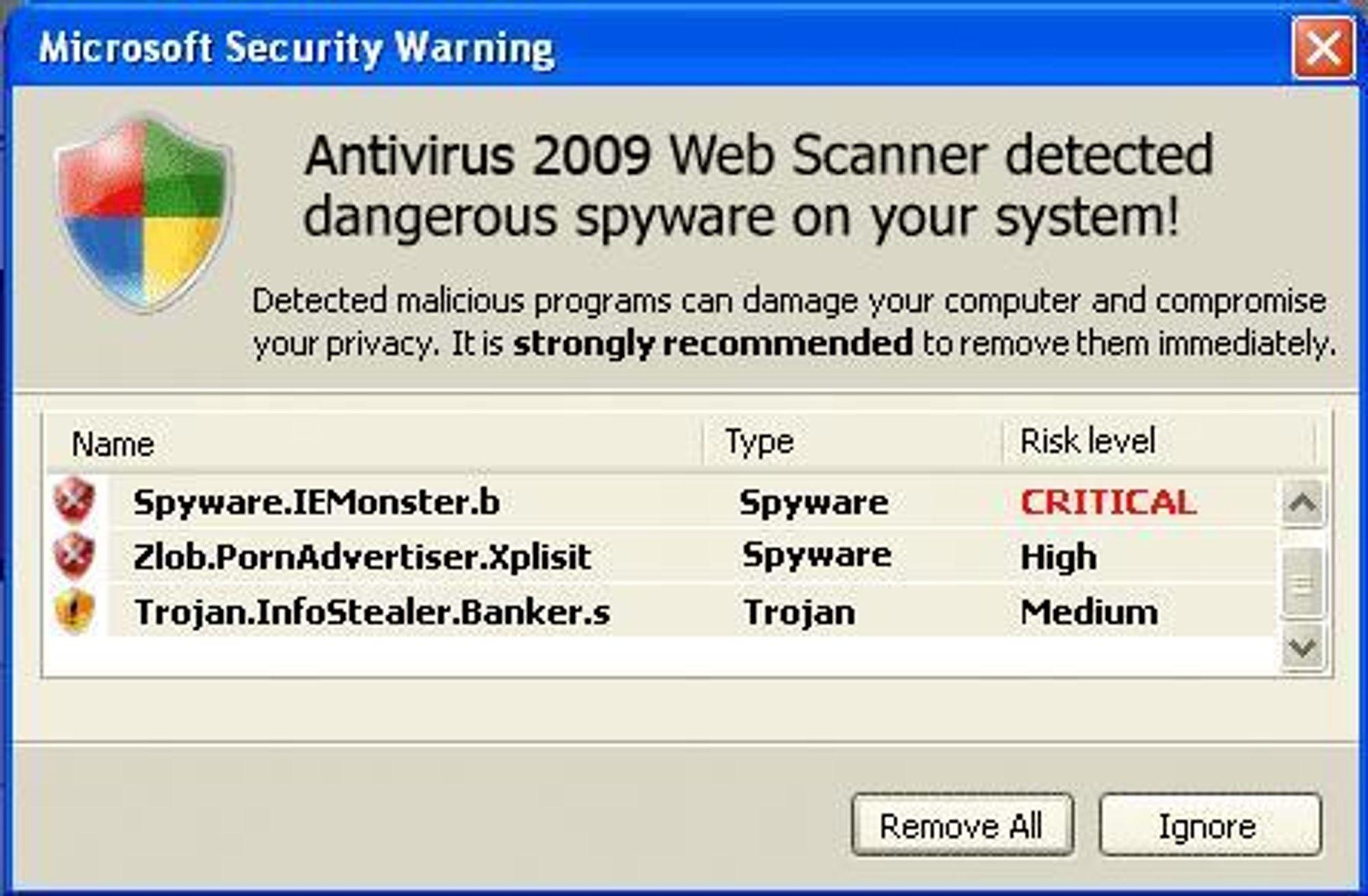 Mens du ser dette skjermbildet, fra et program som ikke har noe med Microsoft å gjøre, kan det falske antiviruset faktisk være i gang med å laste ondsinnet kode over på pc-en.