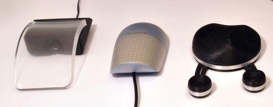 De tre øvrige mus-prototypene. Modellen til høyre har to framskutte musknapper som kan beveges i flere retninger.
