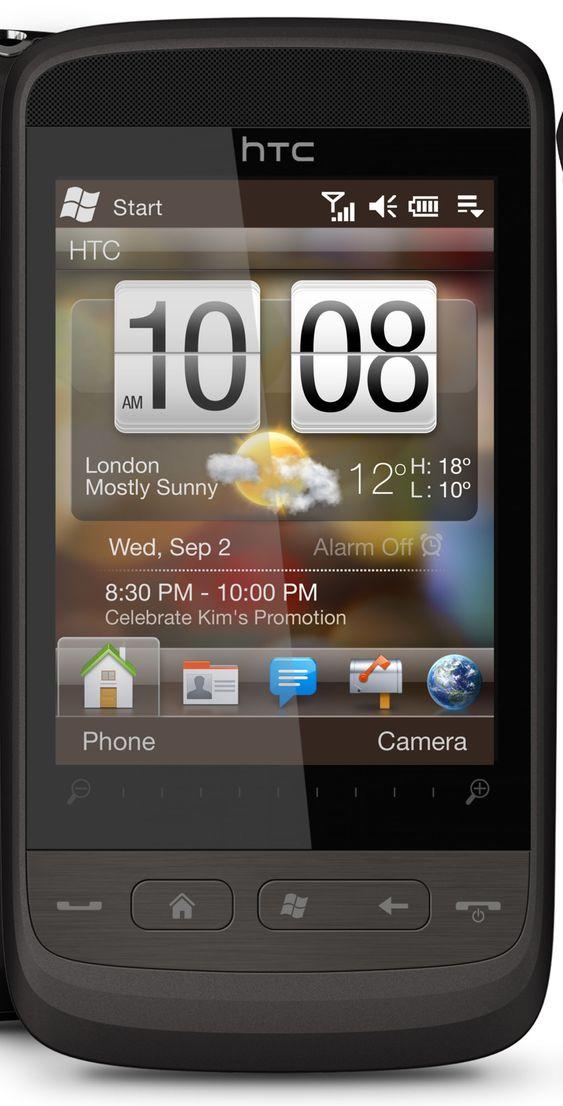 HTC Touch2 leveres med Windows Mobile 6.5 og selskapets eget brukergrensesnitt, Touch FLO.