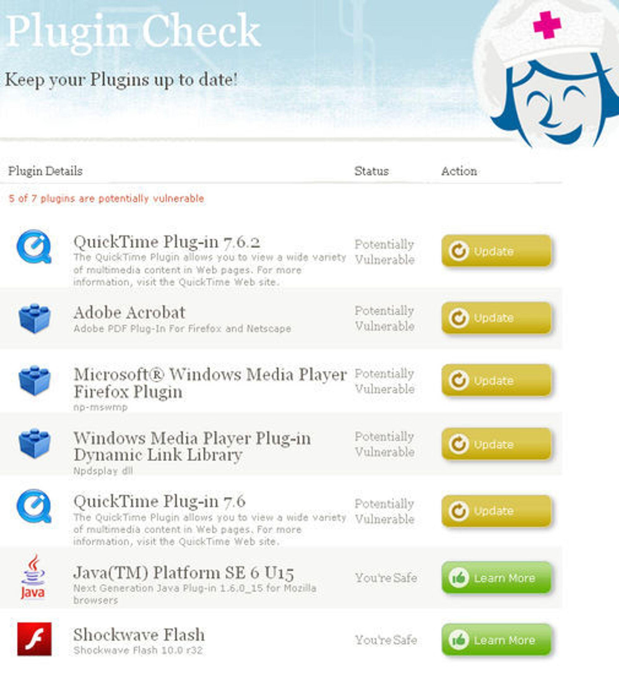 Foreløpig utgave av Mozillas Plugin Check.
