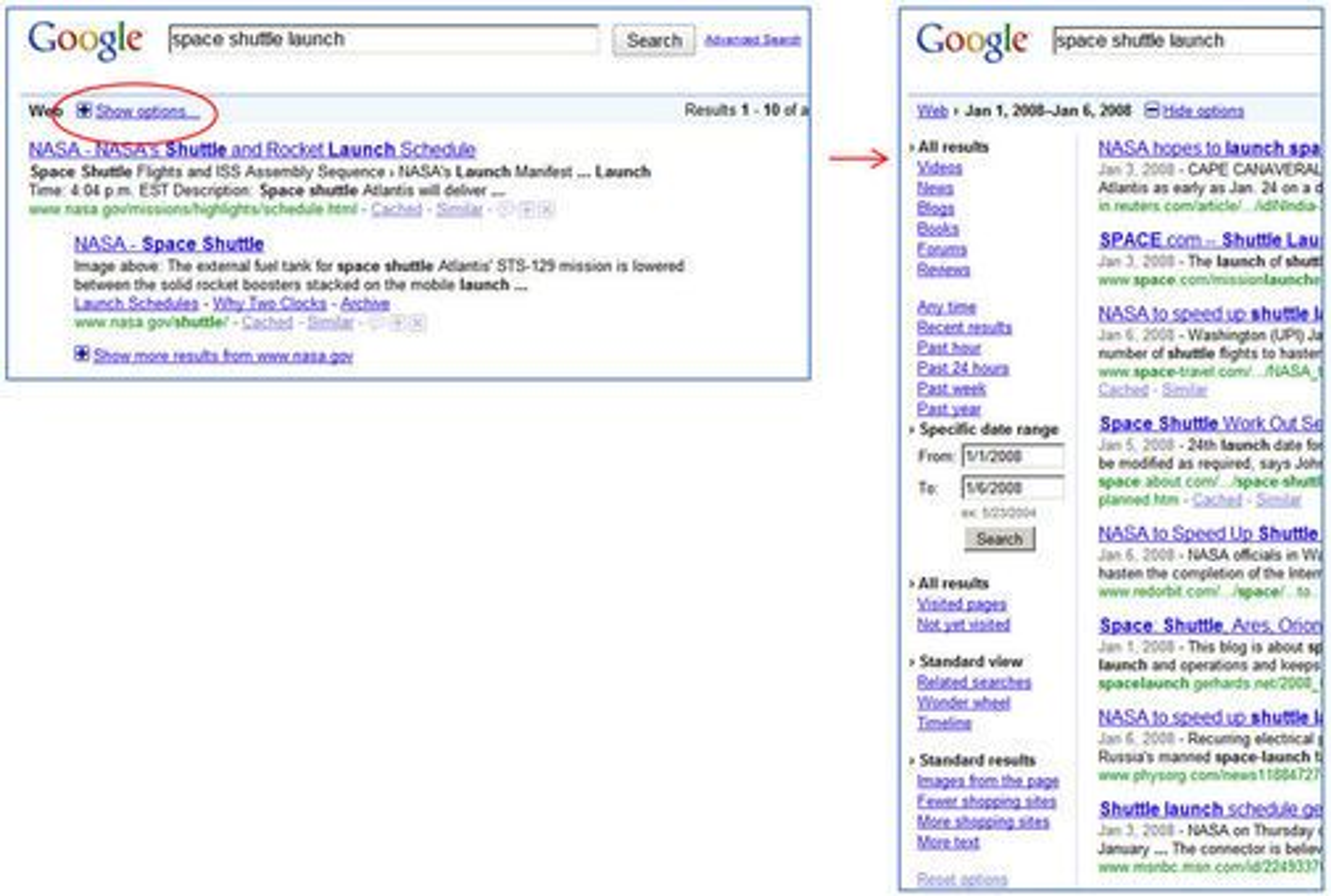 Nye valg er nå tilgjengelig under sidepanelet i Google. Du får tilgang ved å klikke «show options» (el. «vis alternativer».
