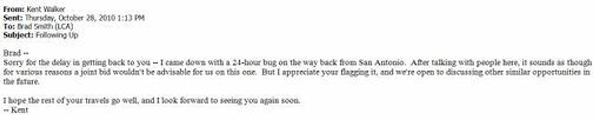 E-post til Microsofts Brad Smith hvor Googles Kent Walker takker nei til å kjøpe Novell-patenter sammen med Microsoft.