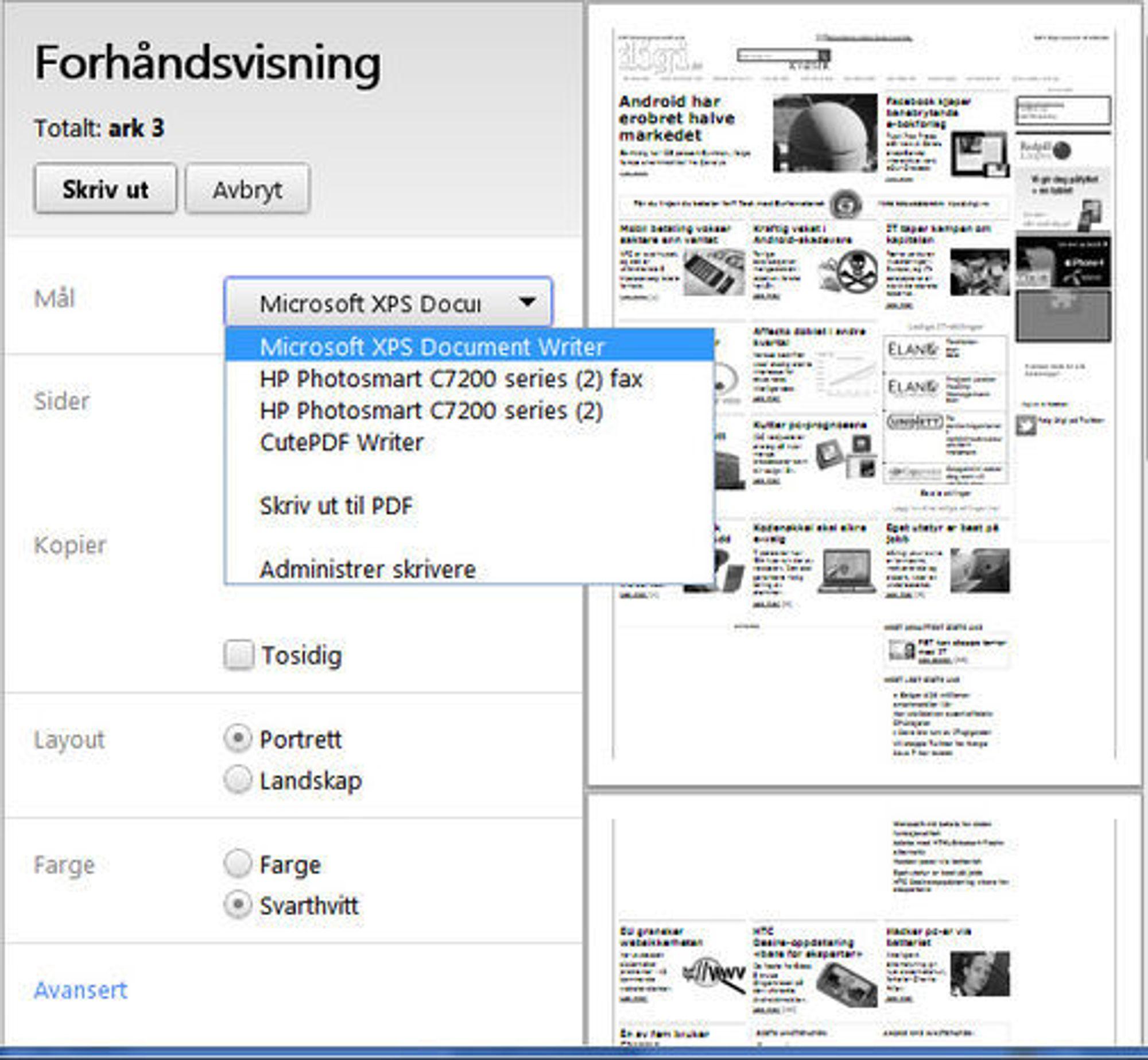 Forhåndsvisning av utskrift i Google Chrome 13