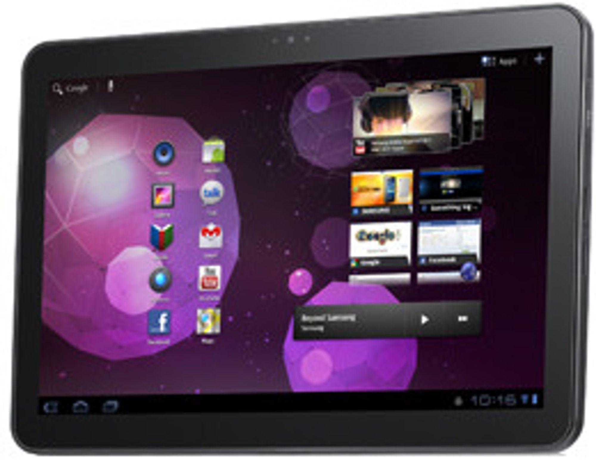 Samsung Galaxy Tab 10.1 har ti tommers skjerm og kjører Android.