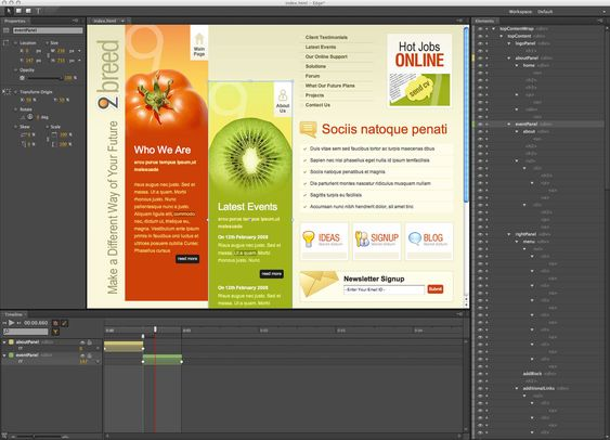 Illustrasjonen viser at det legges til bevegelse i et eksisterende HTML-dokument med Adobe Edge.