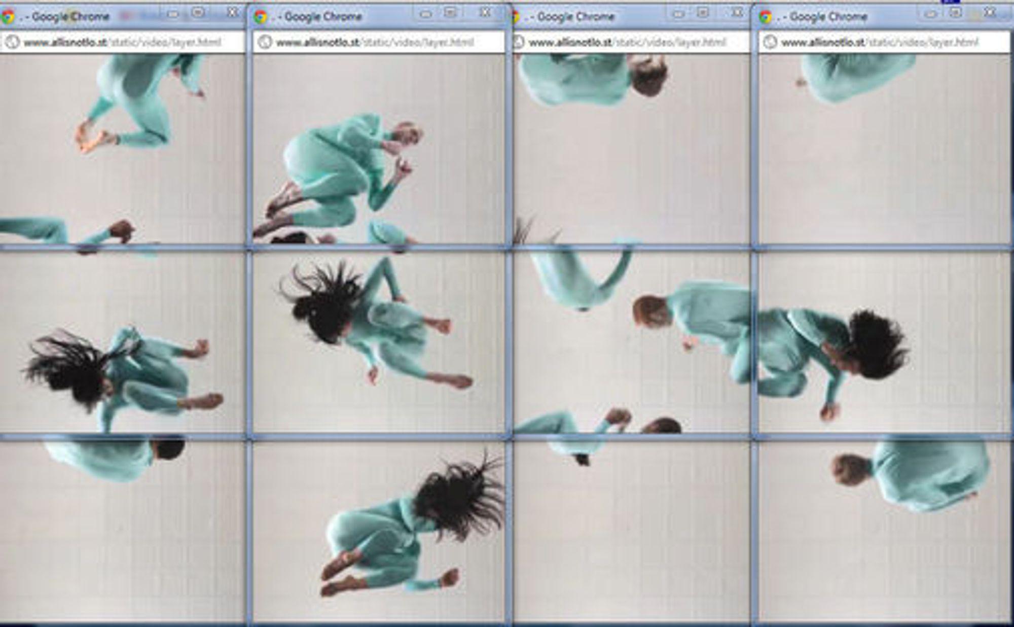 Mengder av Chrome-vinduer med hver sin videostrøm settes sammen til en helhet i «All is not lost»-videoen.