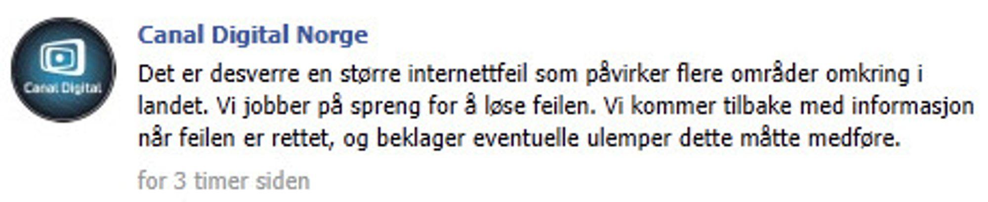 Facebook-melding fra Canal Digital Norge.