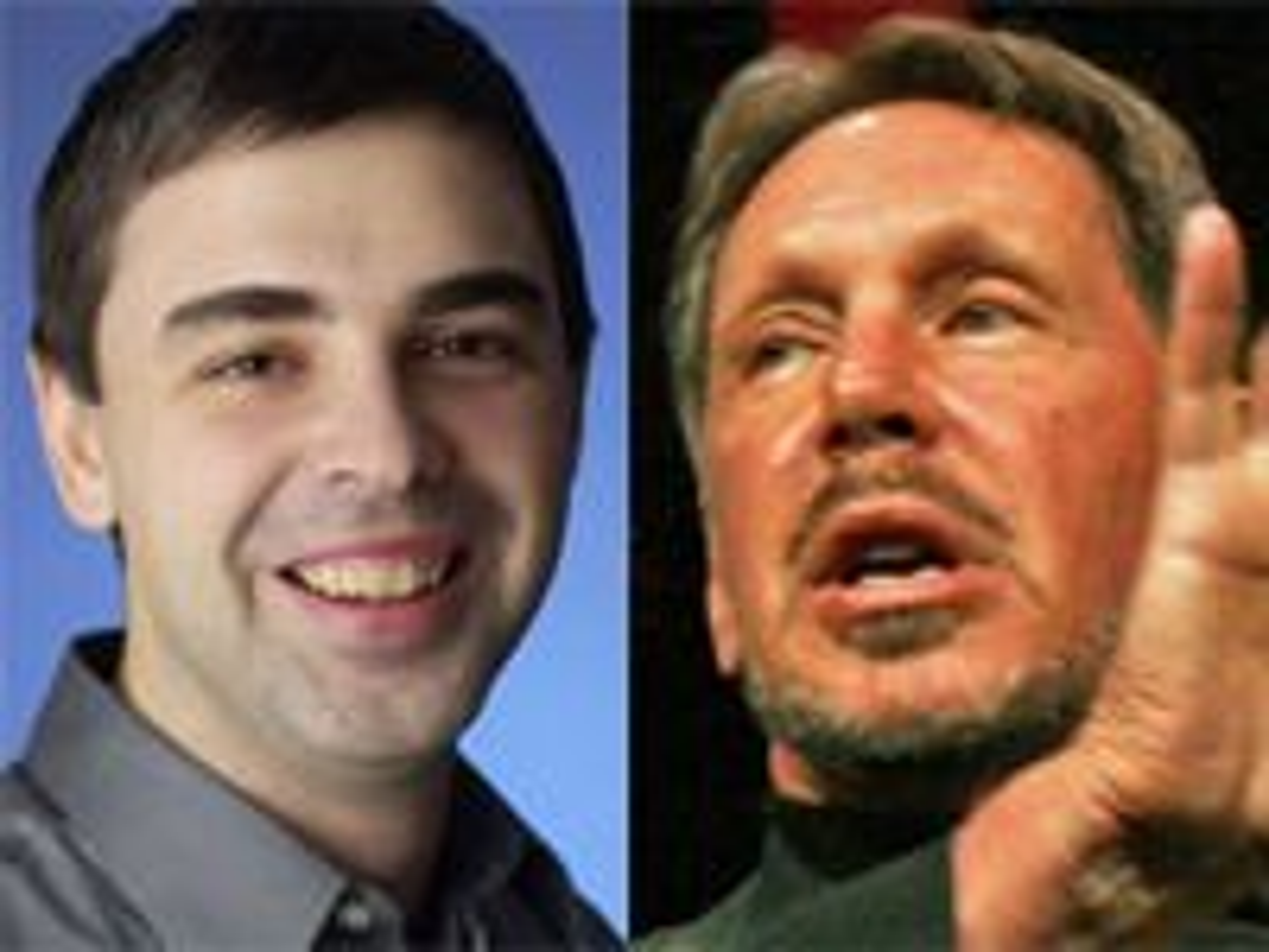 Google-sjef Larry Page (til v.) må svare for seg i retten. Det krever navnebror og Oracle-sjef Larry Ellison.