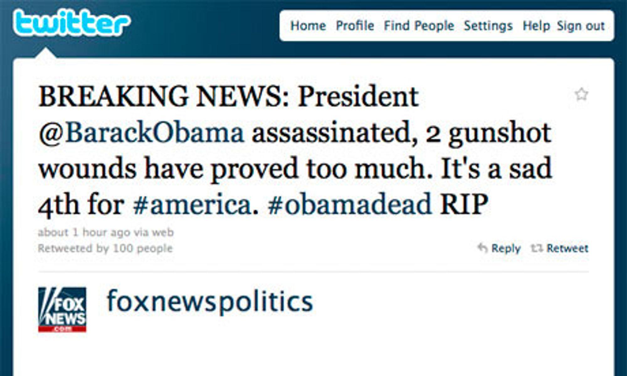 Hacket: Twitter-meldingene om at den amerikanske presidenten er skutt er falske, melder flere medier.