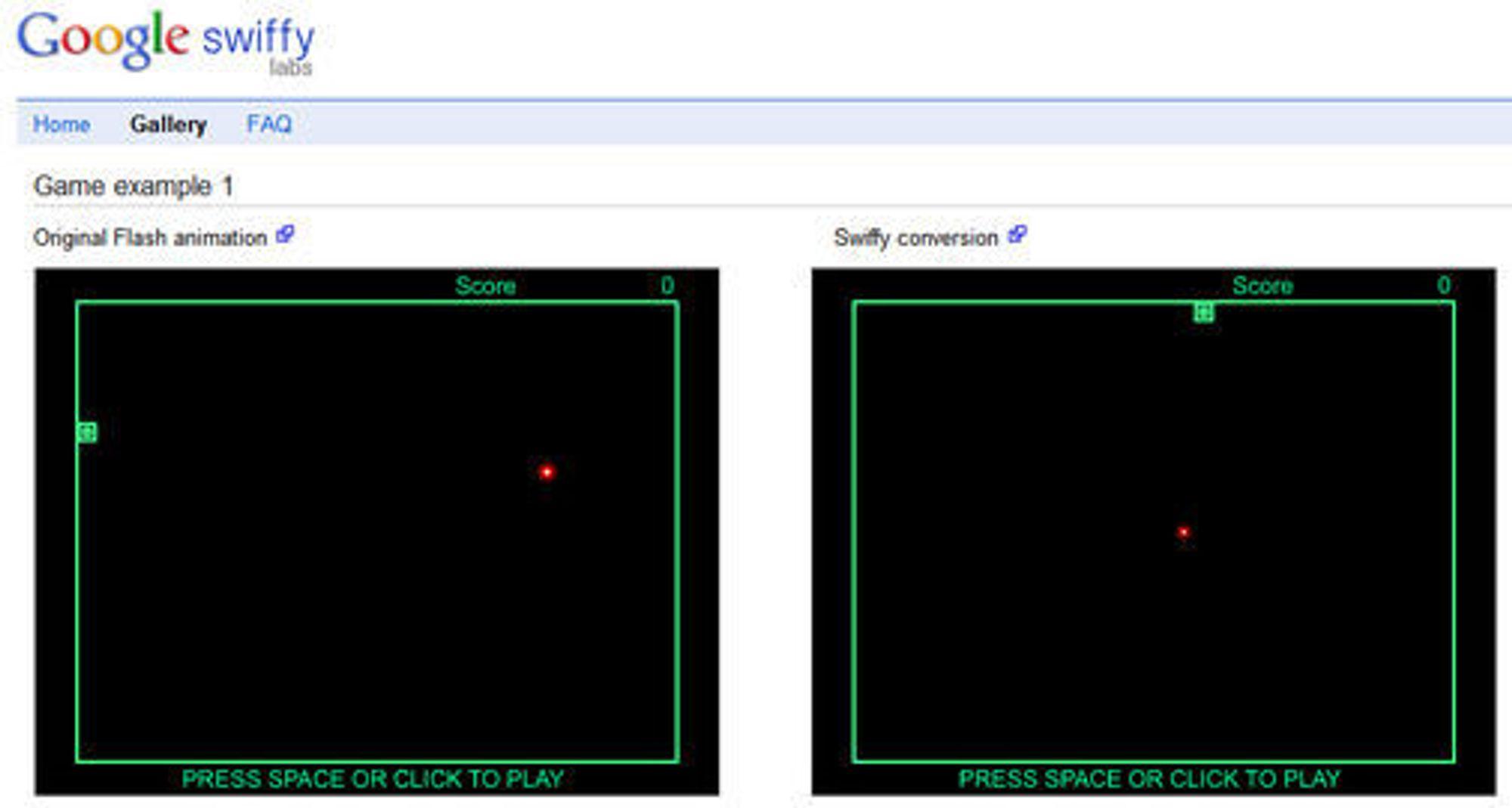 En versjon av spillet Snake vis i Google Chrome. Flash-utgaven til venstre og Swiffy-utgaven til høyre.