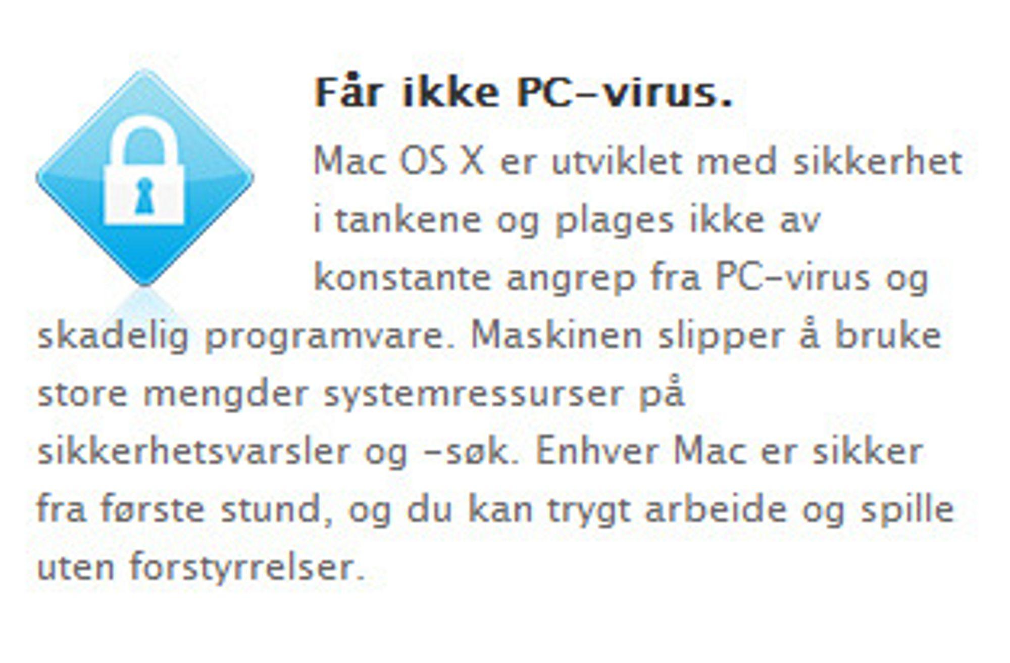Tekst hentet fra Apples side om hvorfor man bør velge Mac.