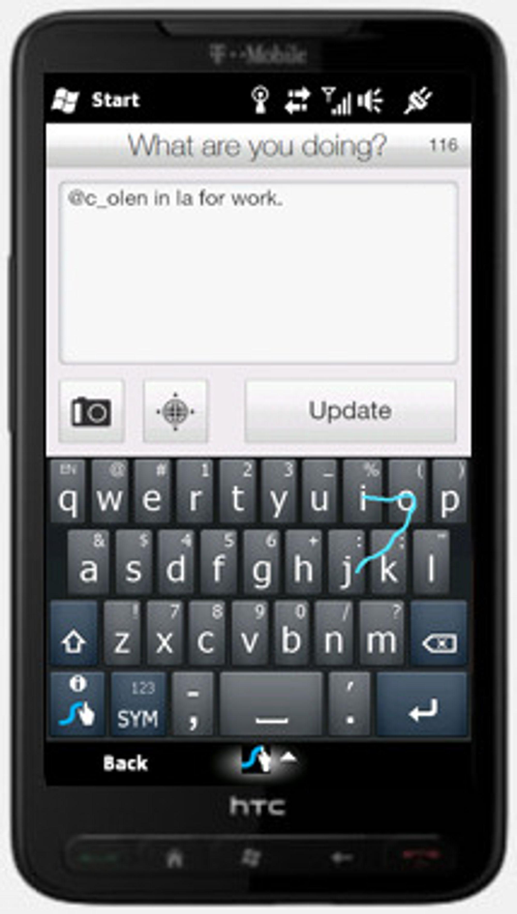 Swype på HTC HD2, under Windows Mobile. Programmet aktiveres med knappen nederst til venstre på det virtuelle tastaturet.
