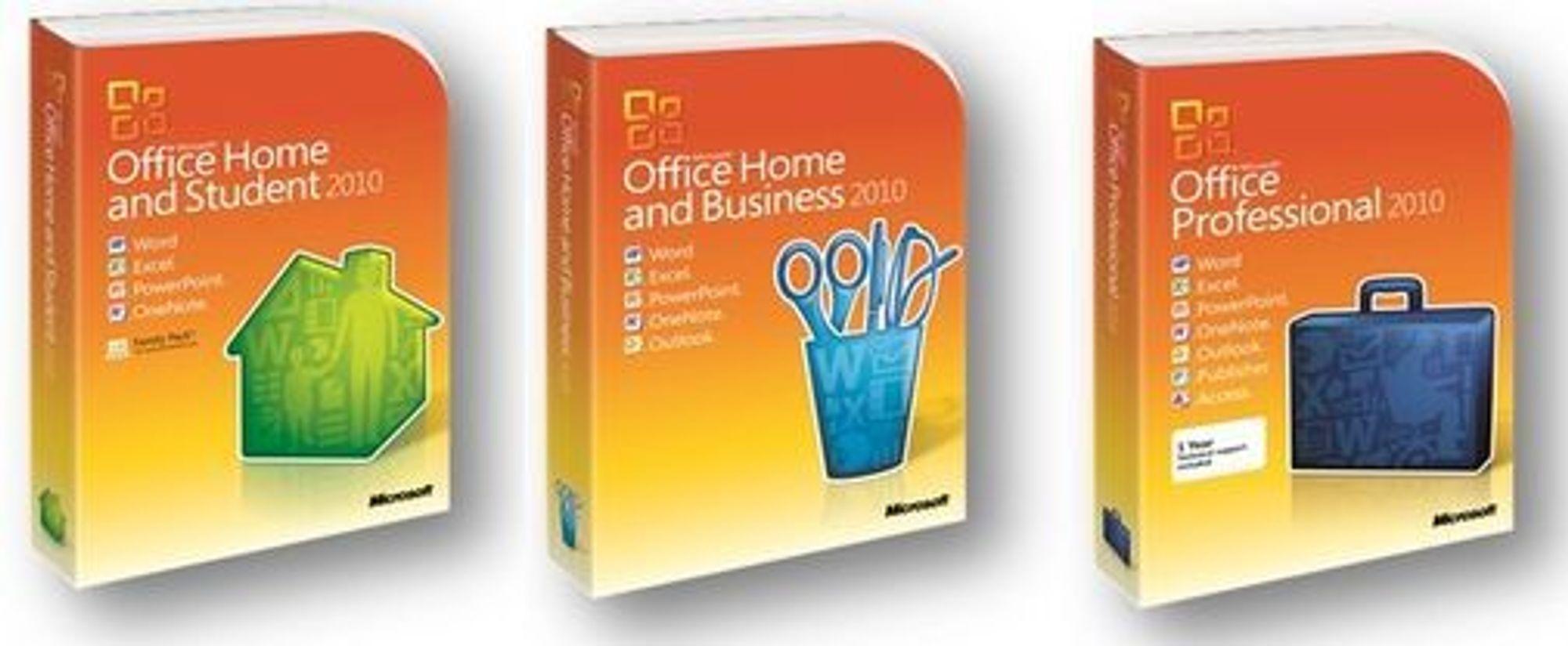 De vanligste utgavene av Microsoft Office 2010.
