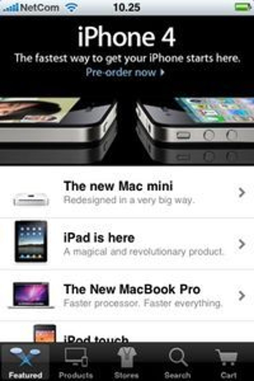 Hele butikken i lomma: Apple åpner nå varesalg gjennom en egen mobilapplikasjon.