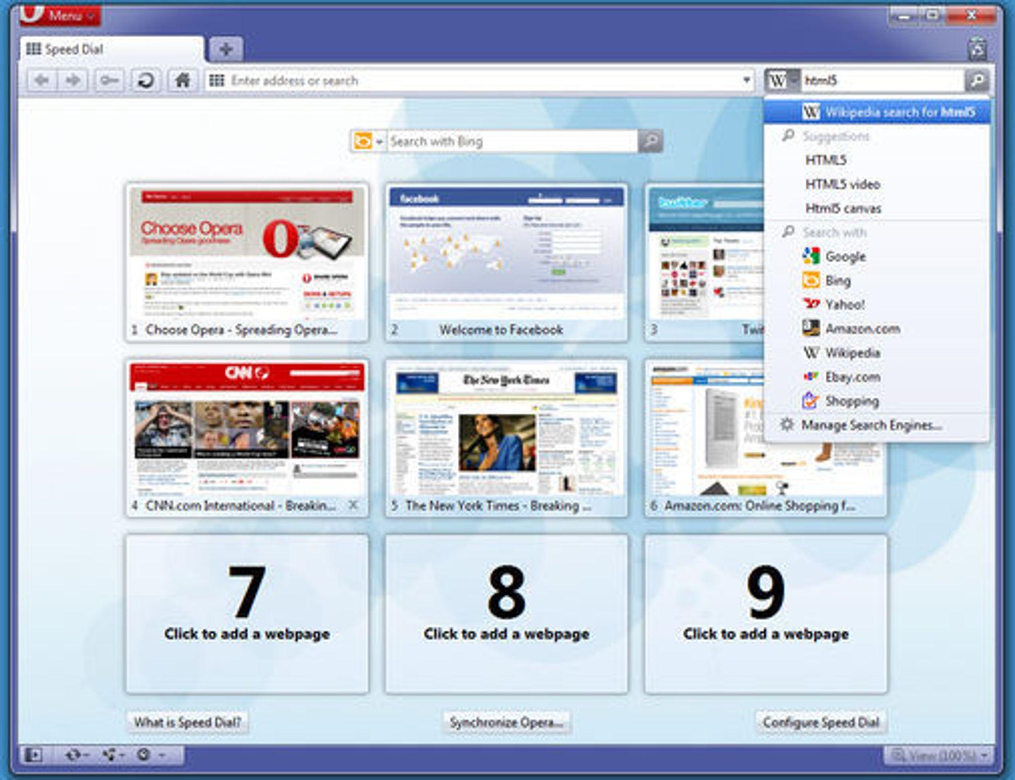Både Speed Dial og søkefeltet blir forbedret i Opera 10.60.