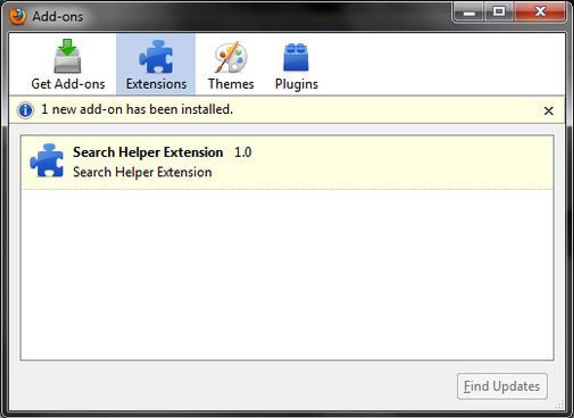 Microsofts Search Helper Extension til Firefox.