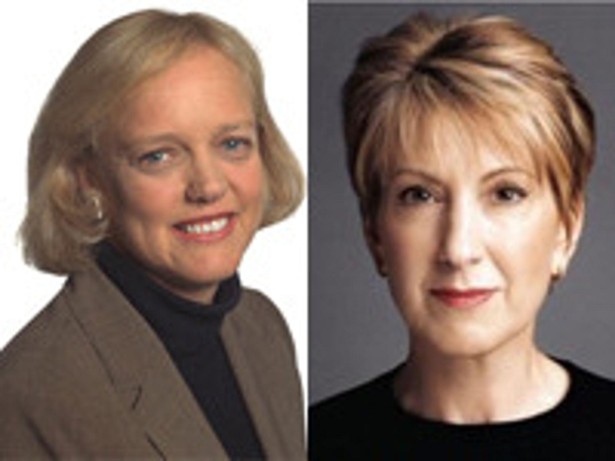 De har millioner (av dollar) bak seg når de skal sikre makt og innflytelse for det republikanske partiet: eBay-gründer Meg Whitman (til venstre) og tidligeere HP-topp Carly Fiorina.