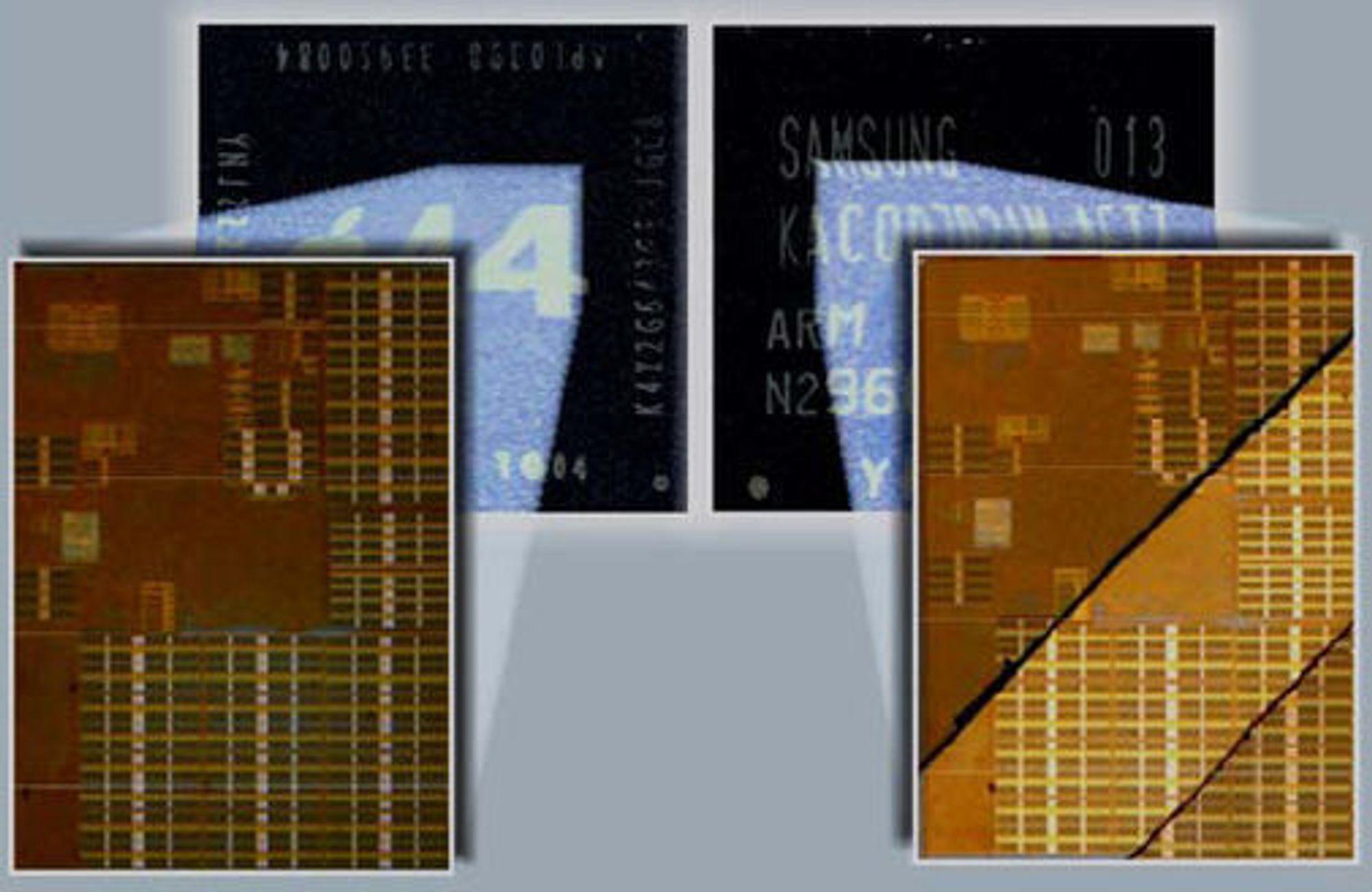 Apples A4-prosessor til venstre, Samsungs S5PC110A01-prosessor til høyre.
