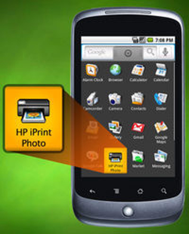 HP iPrint Photo gjør det enkelt å skrive ut bilder fra mobiltelefonen til en skriver over WLAN. Her den nye versjonen for Android. iPrint Photo er også tilgjengelig for Symbian, Windows Mobile og Apple-enhetene iPhone, iPad og iPod Touch.