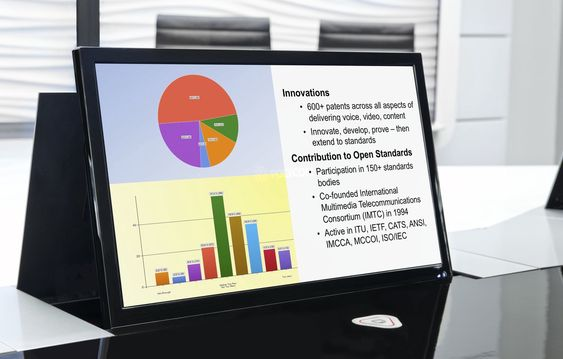 Presentasjoner vises på egne skjermer, plasser rett ved hver av de fysiske deltakerne.