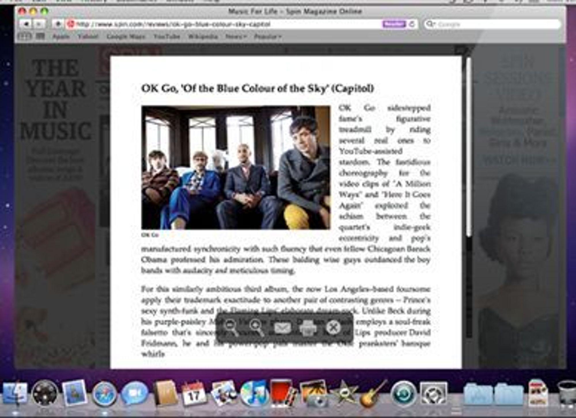 Safari Reader toner ned omgivelsene rundt selve teksten på en webside.