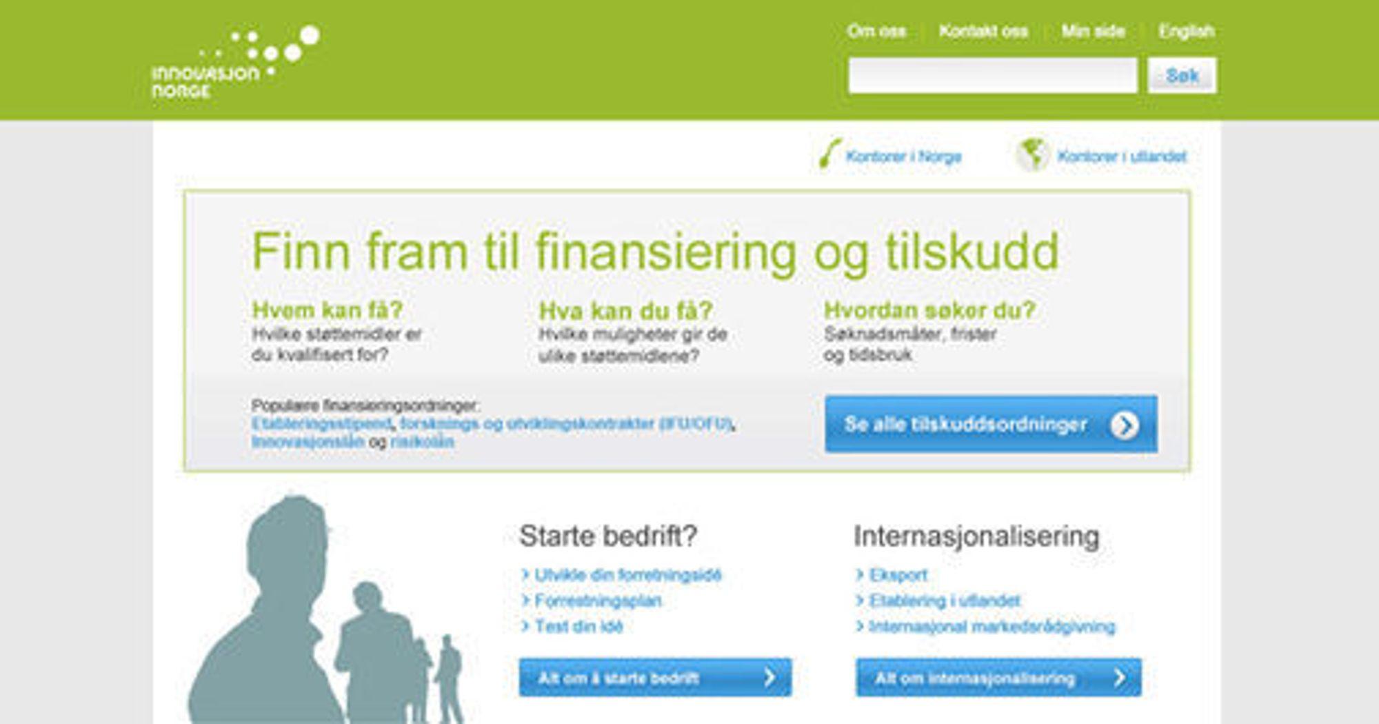 Utkast til ny forside for innovasjonnorge.no. Nettstedet blir lansert i beta rett over sommeren.
