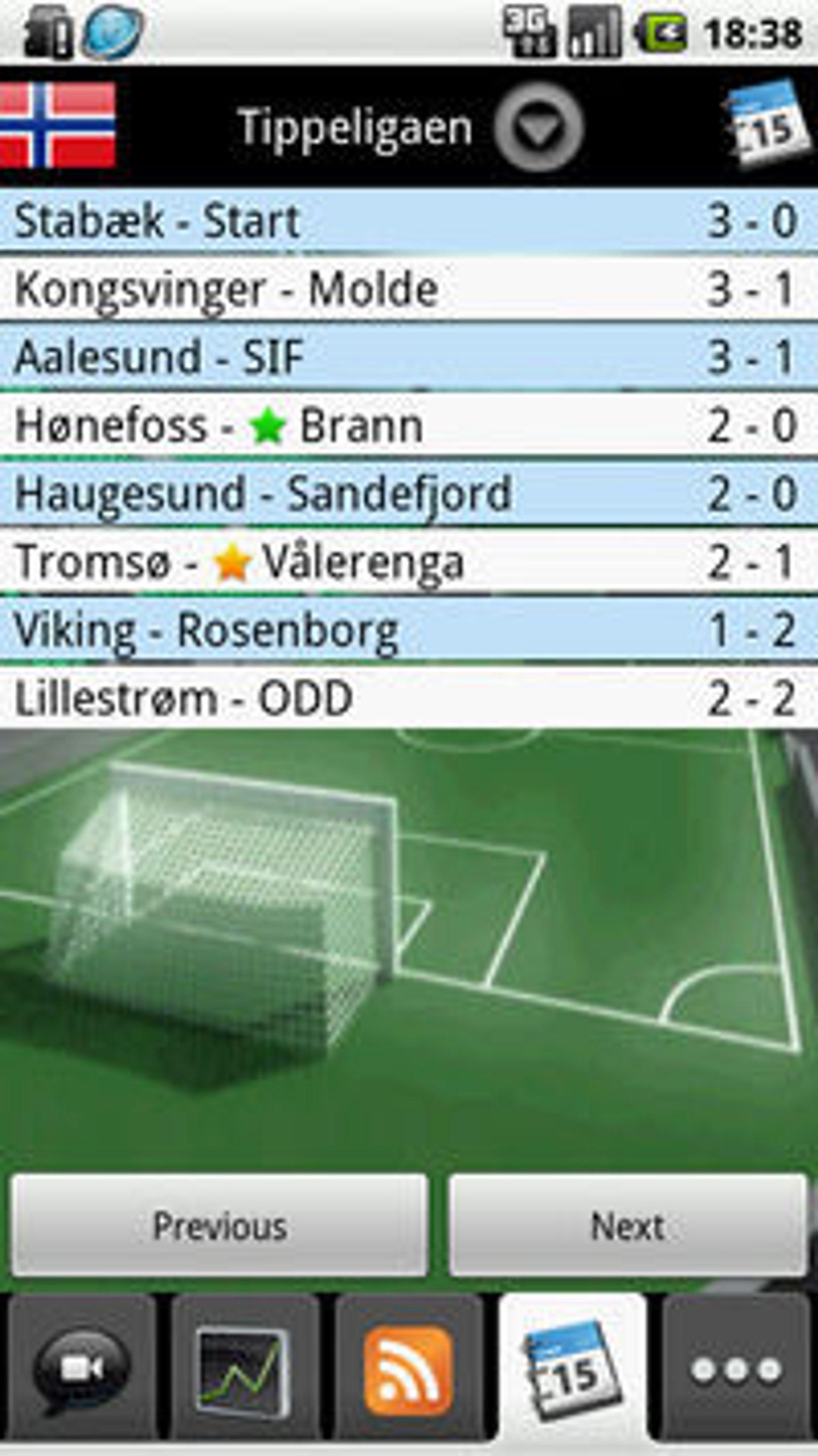 Score Service gjør suksess med mobilappen FotMob til Android. Programmet byr på fotballresultater fra en lang rekke ligaer.