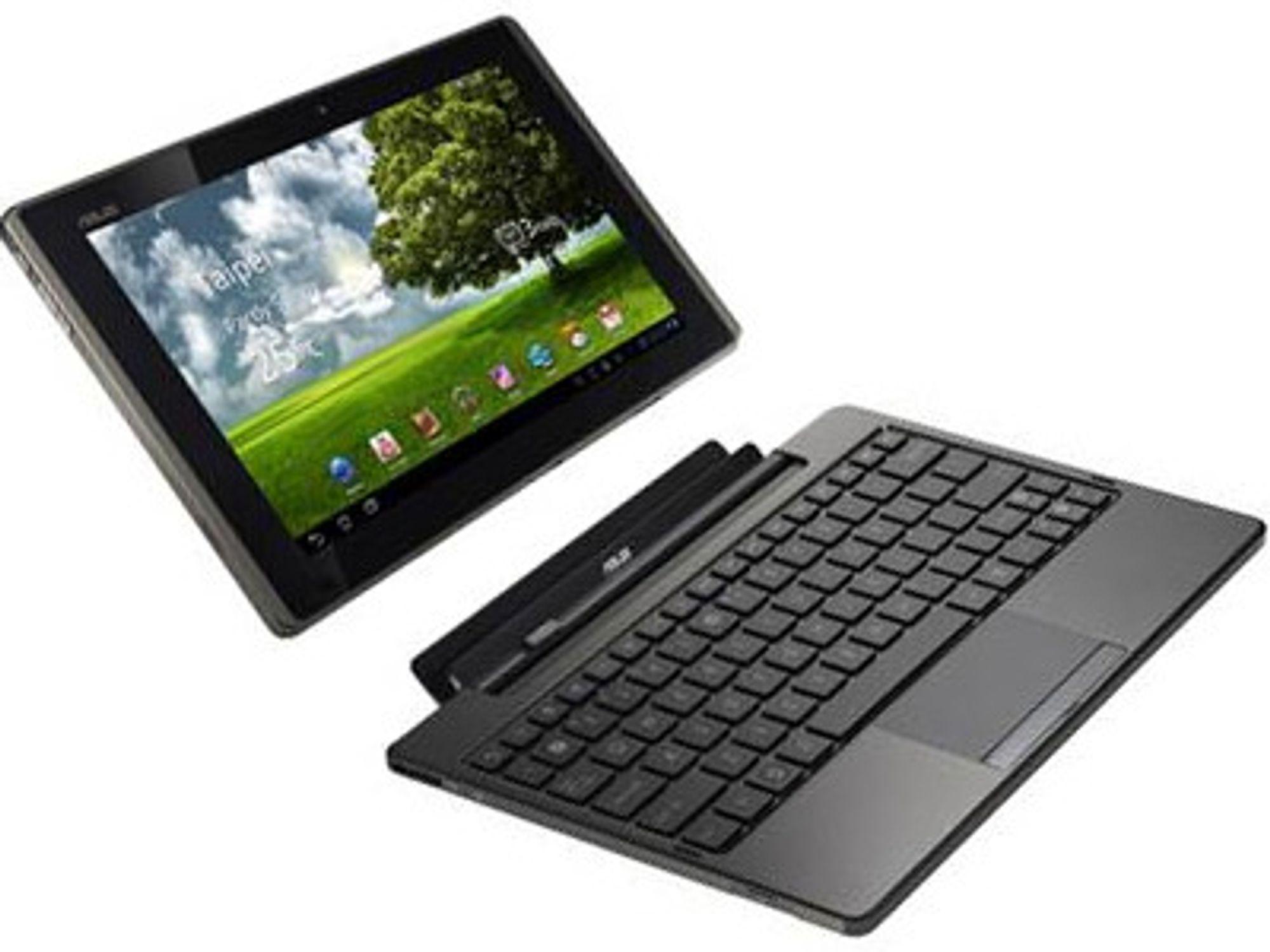 Nettbrettet Eee Pad Transformer blir en slags pc når det tres på et tastatur. Tastaturet har ekstra batteri, USB-utganger, ekstra lagring og lokal programvare.