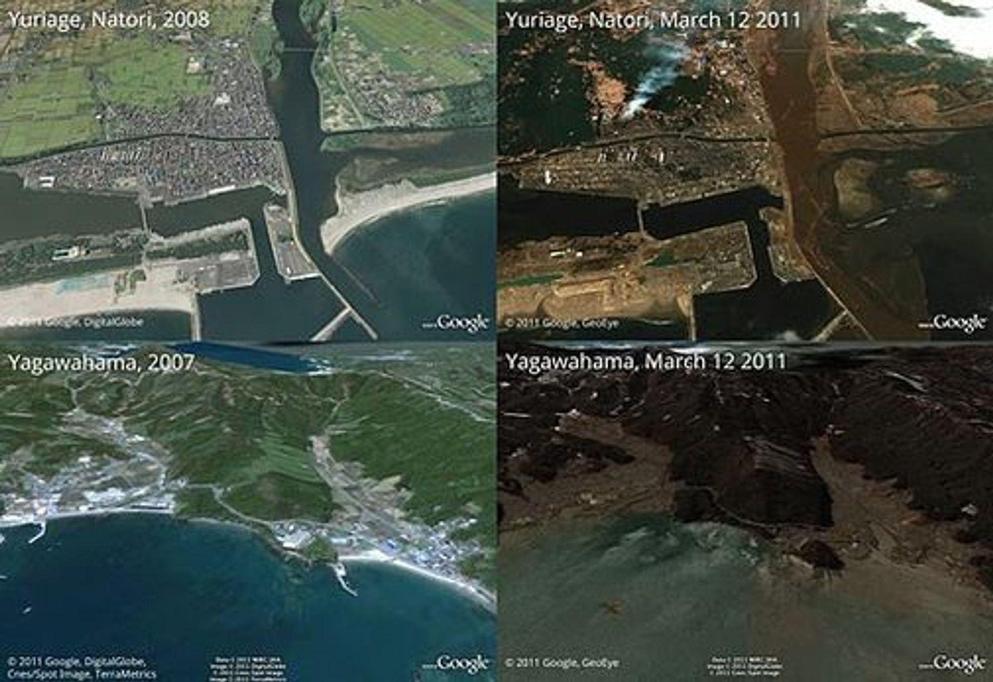 Vasket vekk av vannmassene: De japanske byene Yuriage og Yagawahama ble hardt rammet av tsunamien fredag.