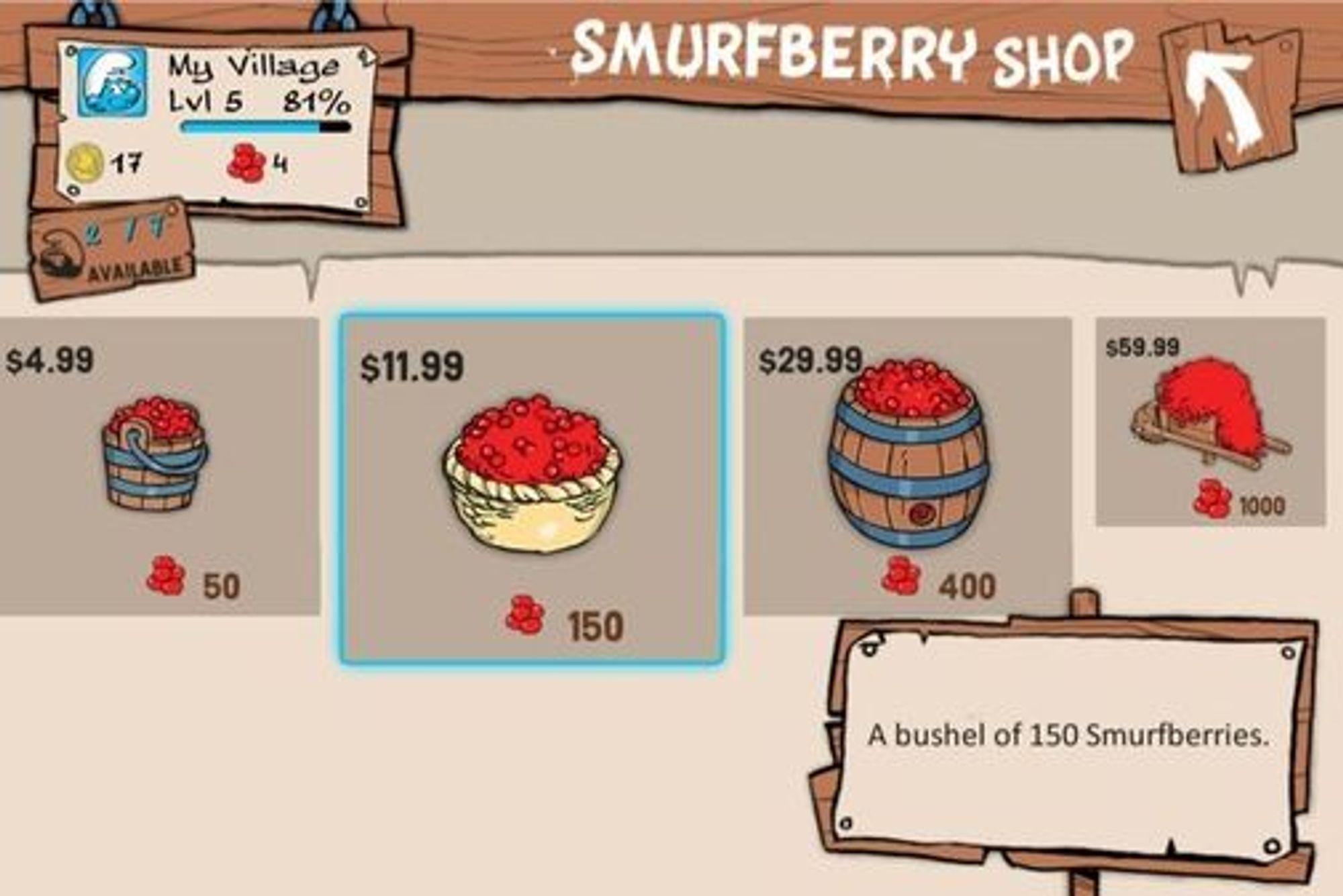 Lett å bli lurt: bærene som selges i gratisspillet Smurfs Village er slett ikke billige.
