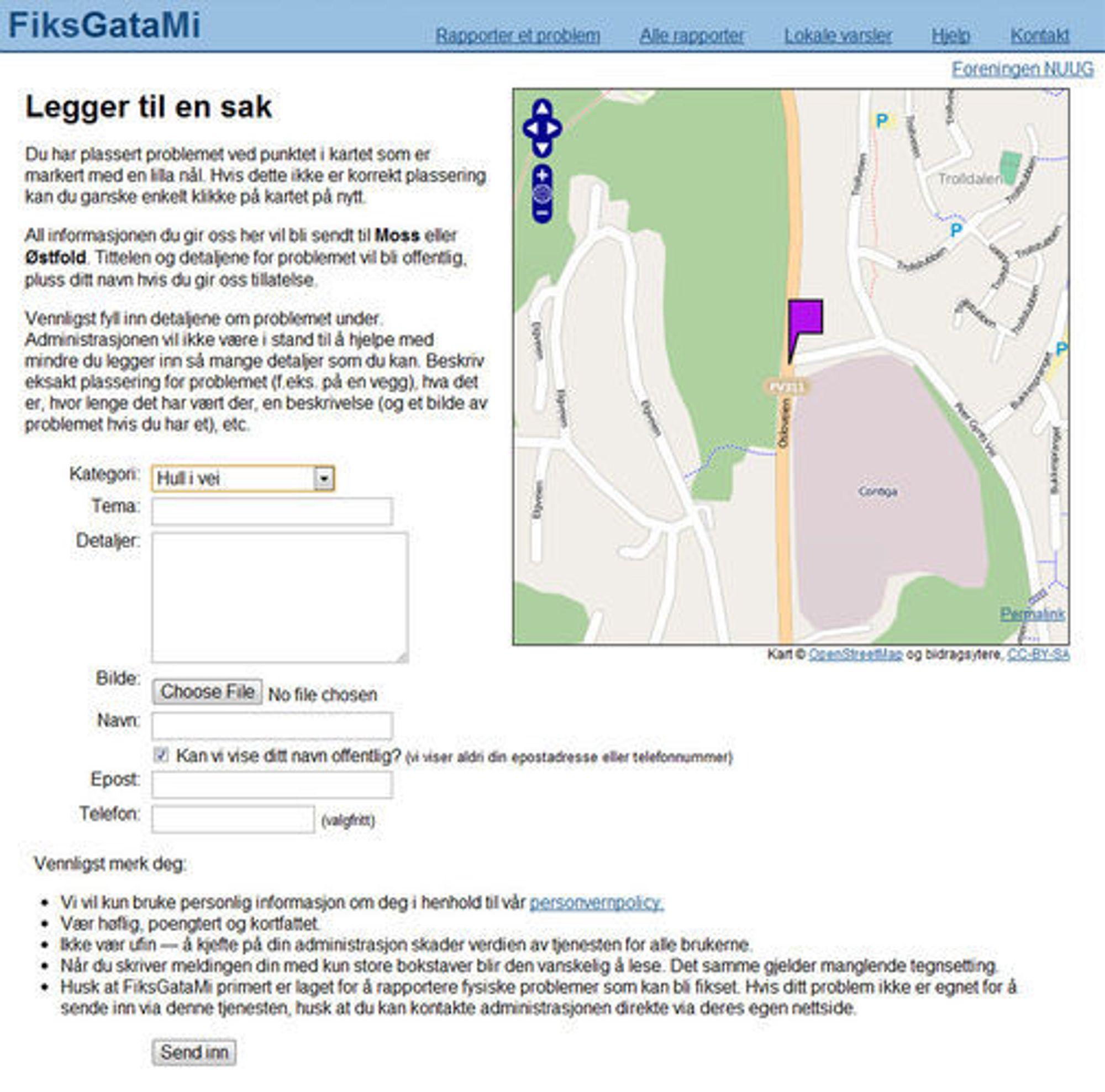 FiksGataMi-skjema for å sende inn melding om feil og problemer med veinettet.