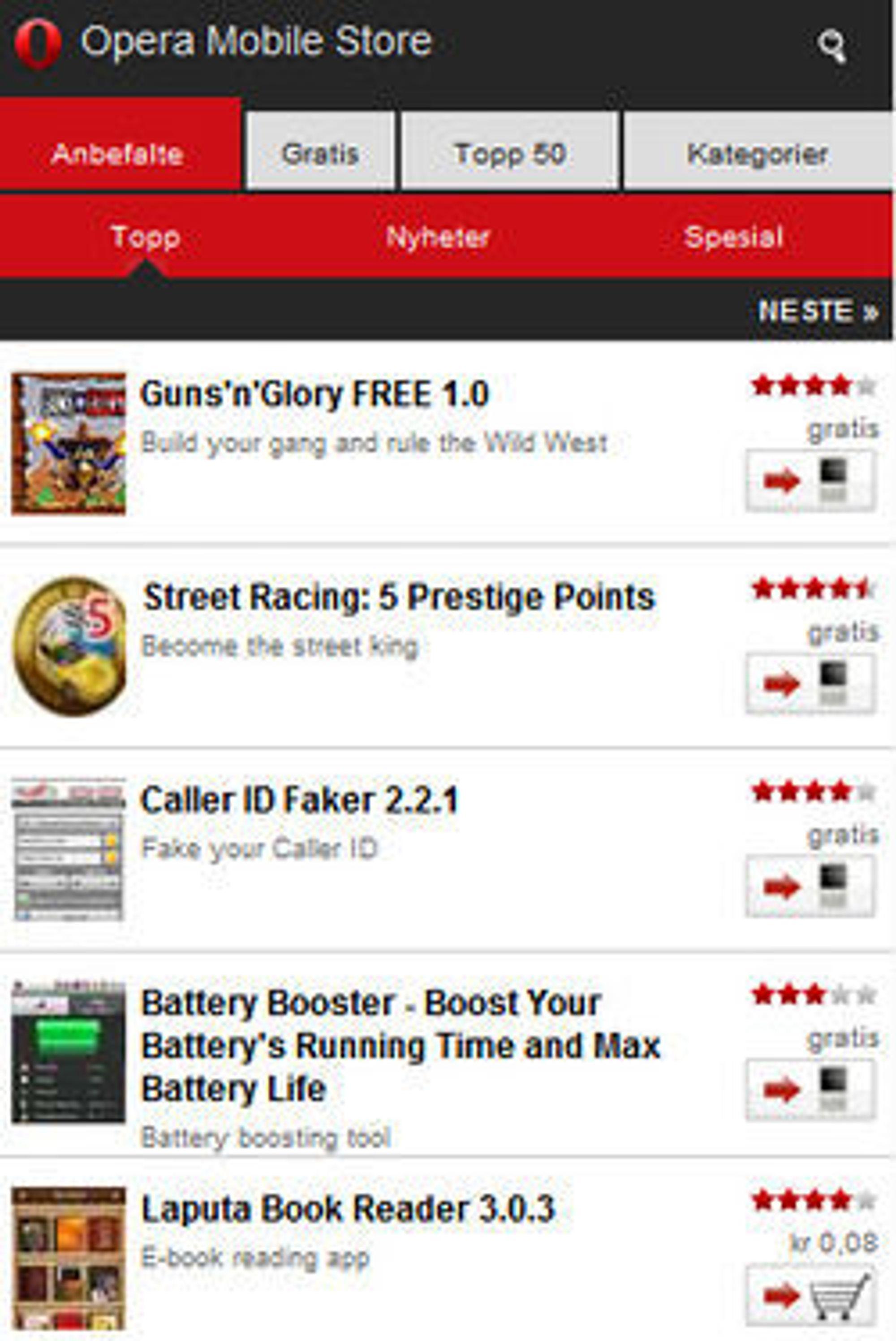 Brukergrensesnittet i Opera Mobile Store.