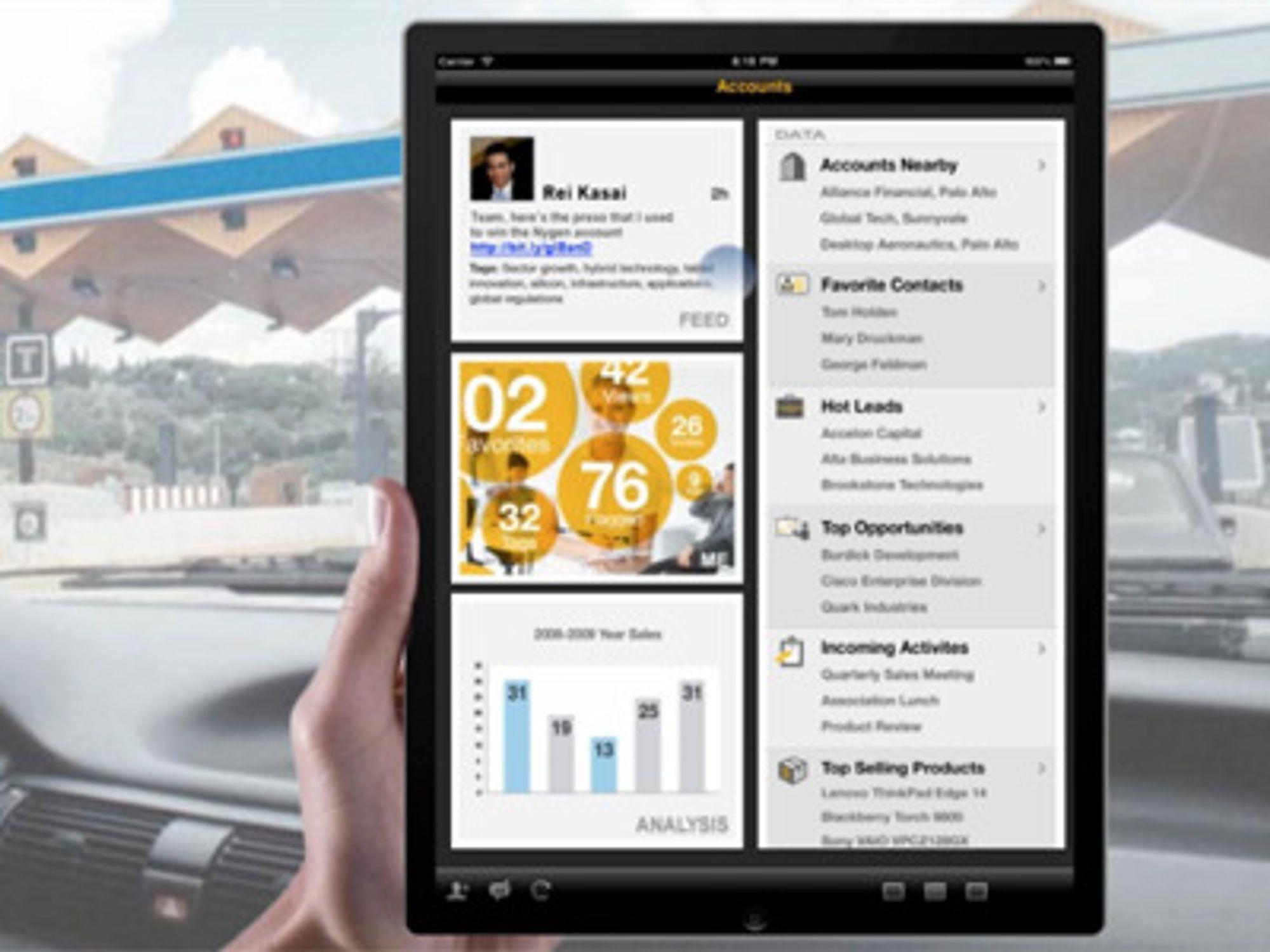 SAP Sales OnDemand er laget med tanke på bruk også i mobile klienter, her Apples nettbrett iPad.