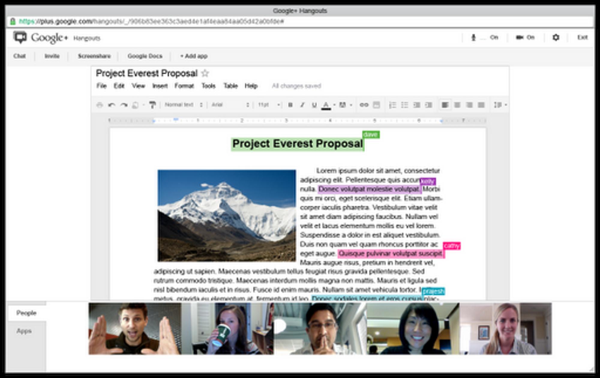 Google Apps-brukere kan ved hjelp av Google+-funksjonen Hangout arrangere en videokonferanse hvor de sammen diskuterer og redigerer et Google-dokument.