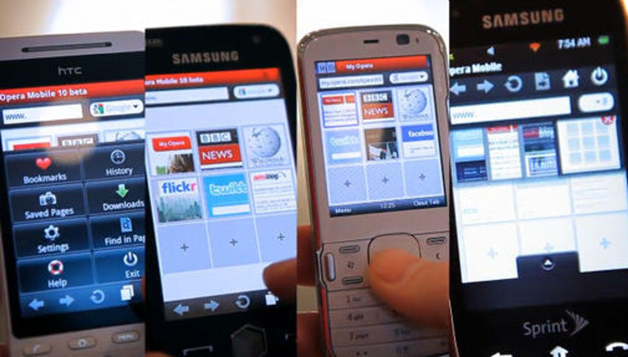 Opera Mobile 10 med samme brukergrensesnitt på fire ulike mobilplattformer.