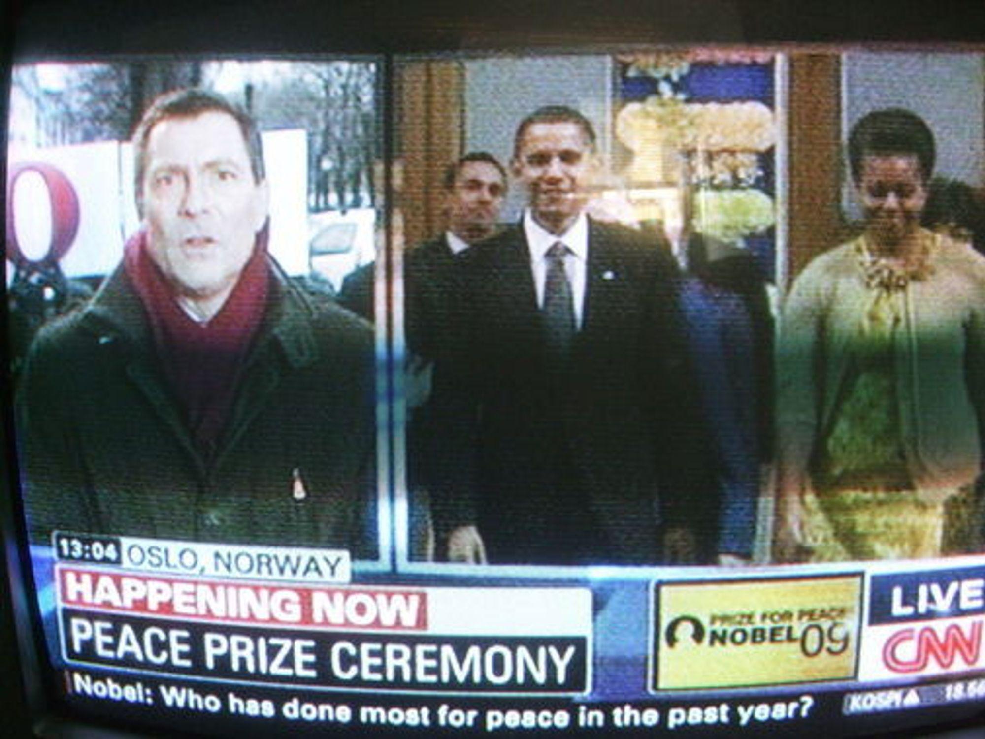 Opera kuppet CNN-sendingen fra utdelingen av Fredsprisen til Barrack Obama.
