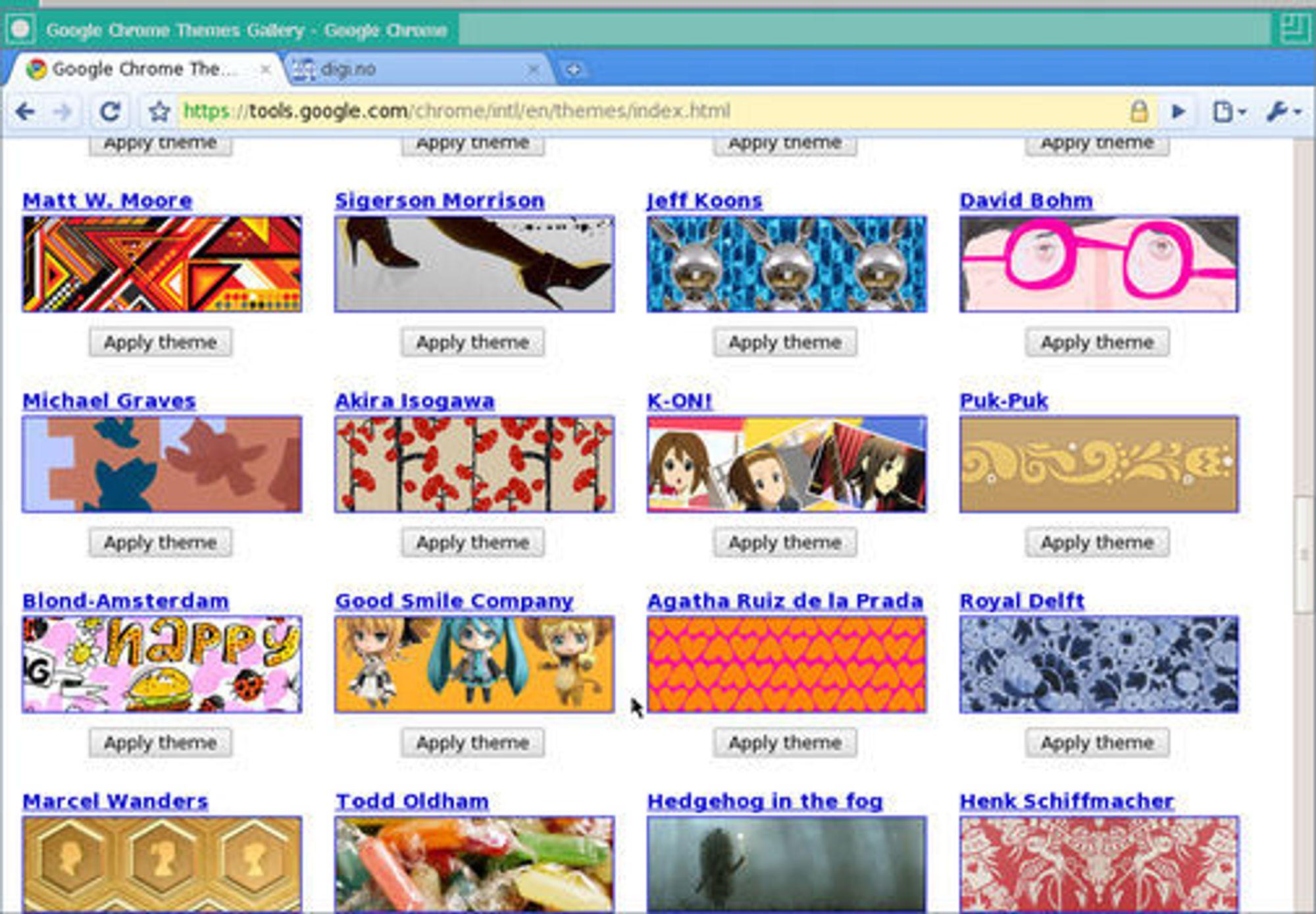 Brukere av Chrome for Linux har en mengde temaer å velge mellom.